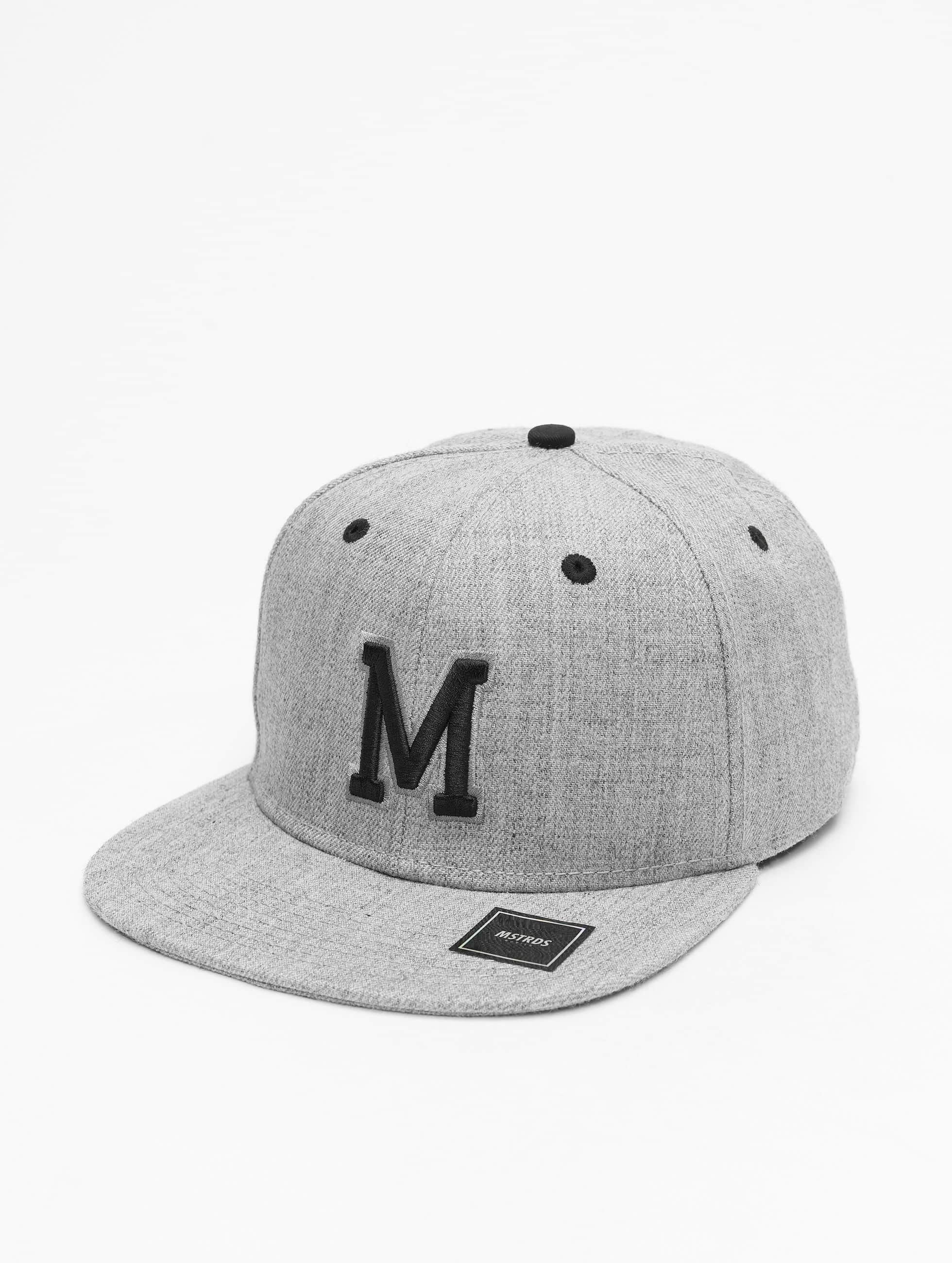 MSTRDS Snapback Caps M Letter szary