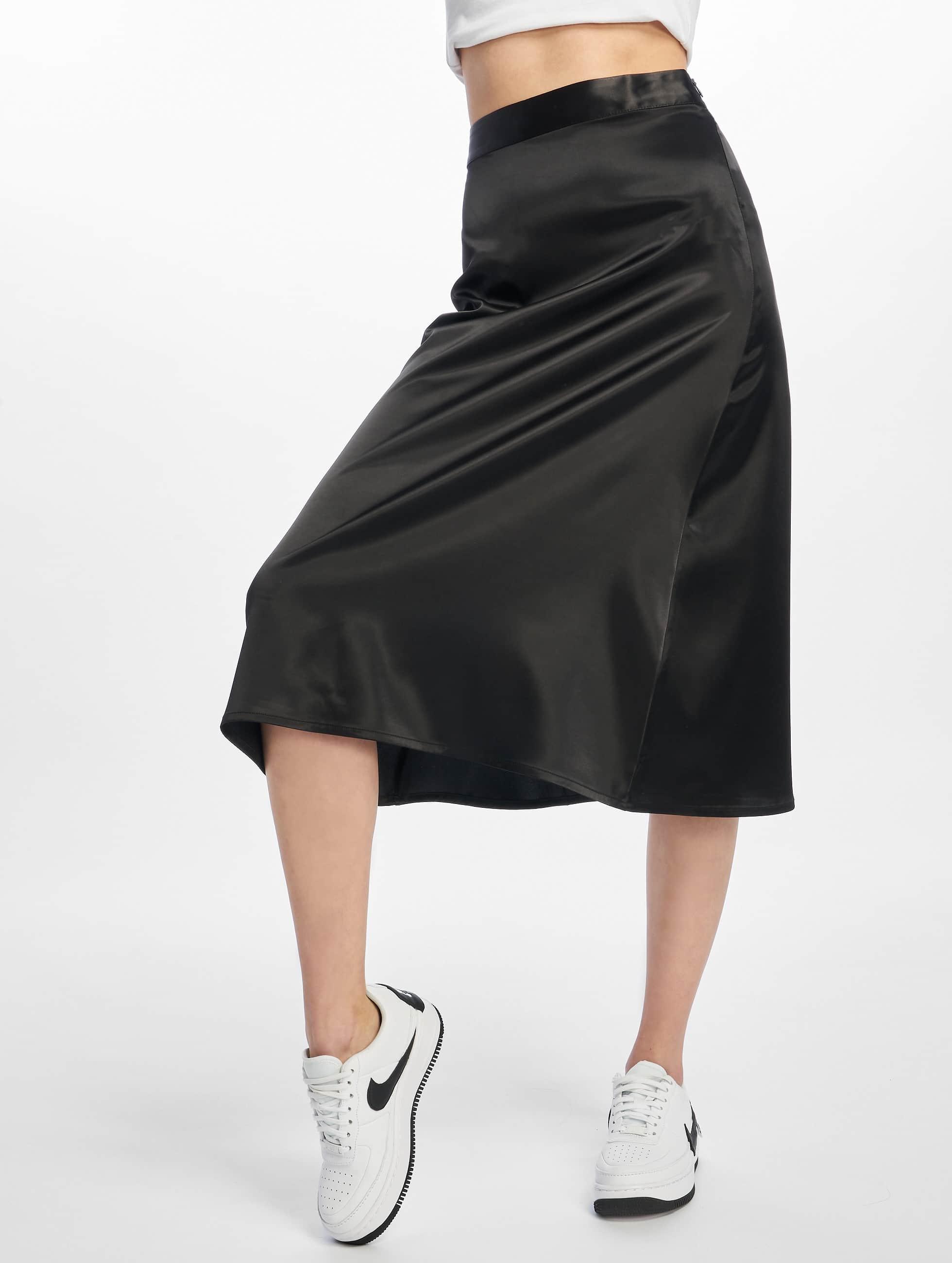 Na Kd Bias Cut Satin Midi Skirt Black