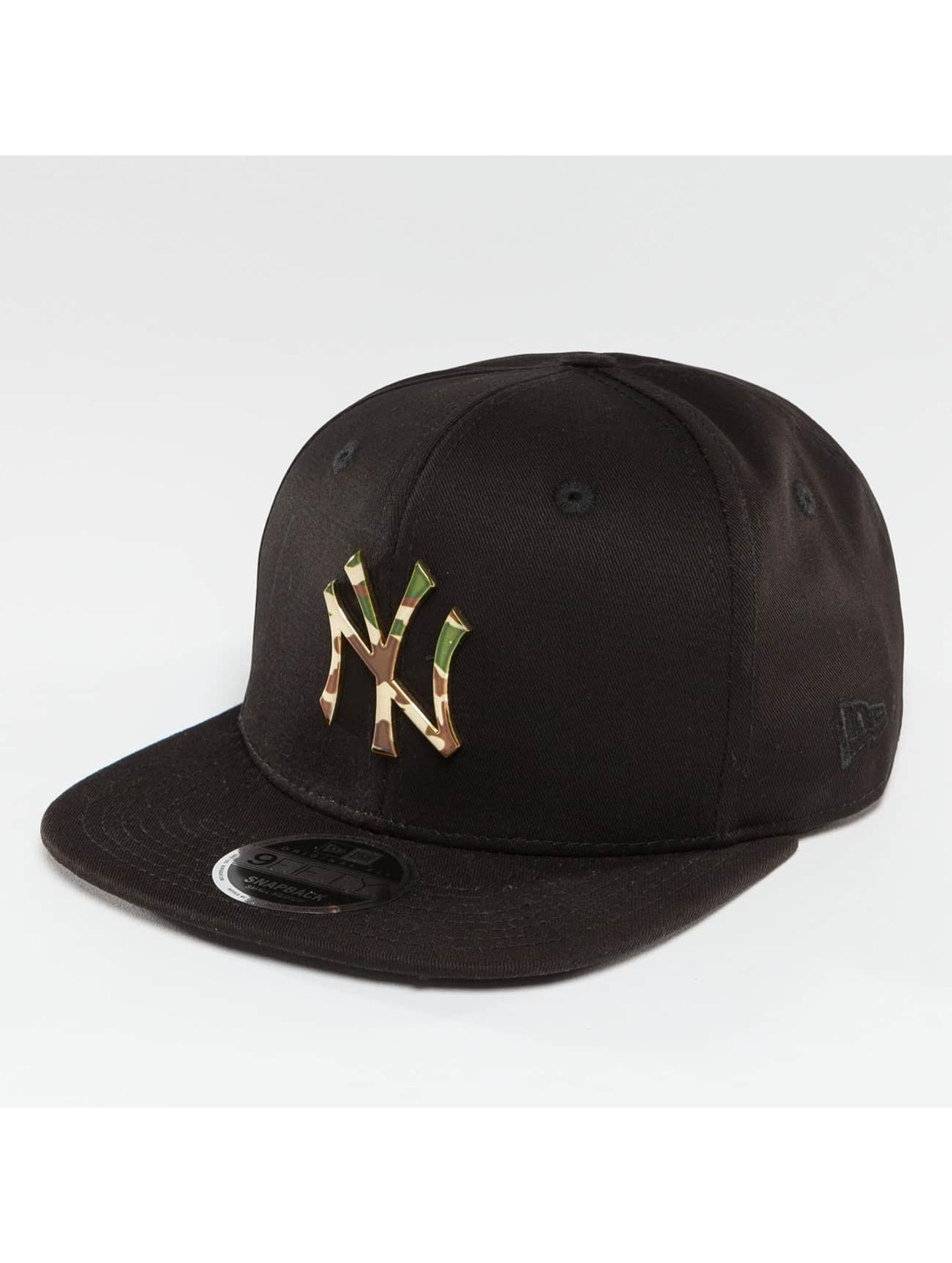 New Era Snapback Cap Camo Metal Logo NY Yankees black