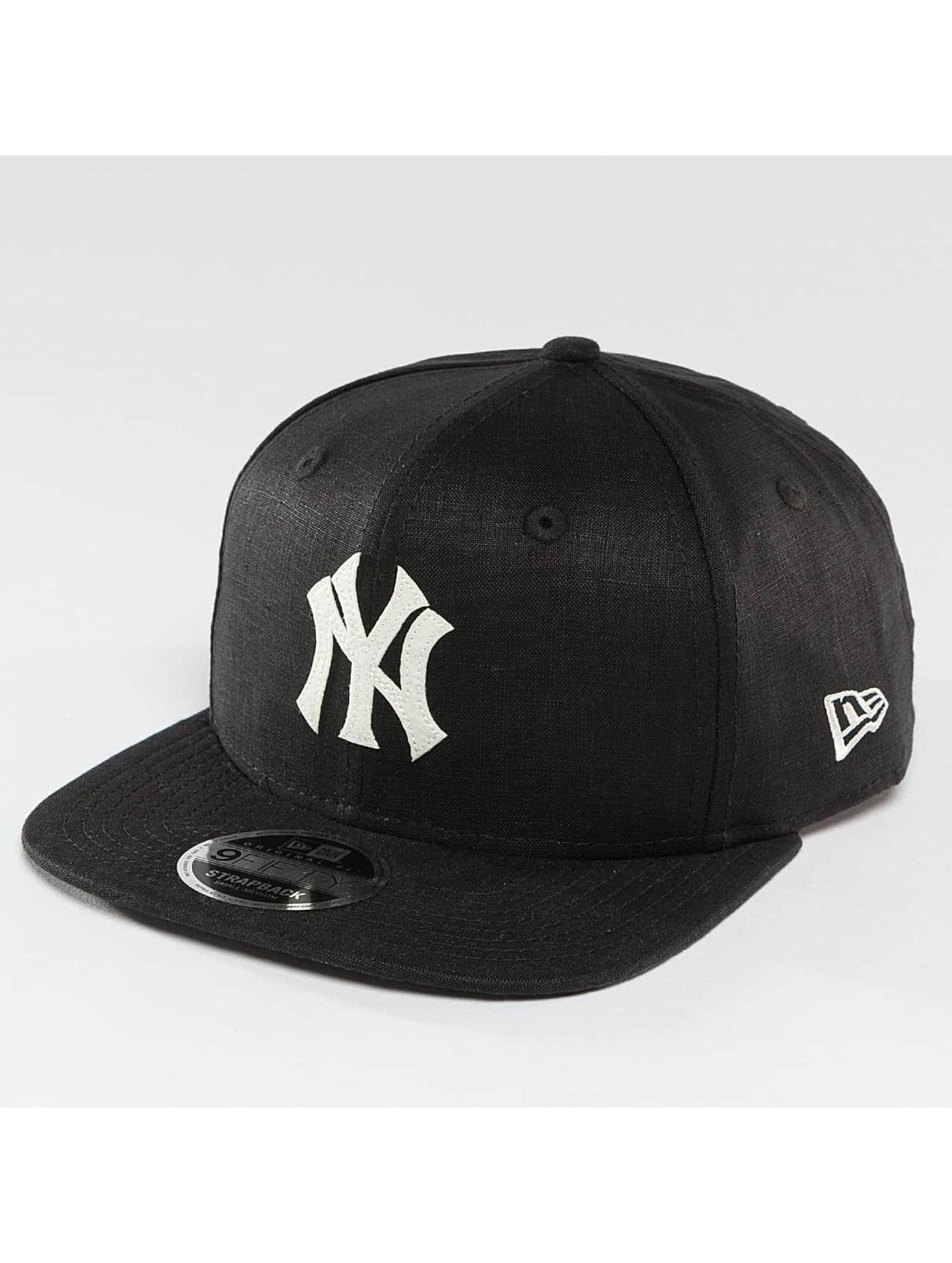 New Era Snapback Cap Linen Felt NY Yankees Cooperstown black