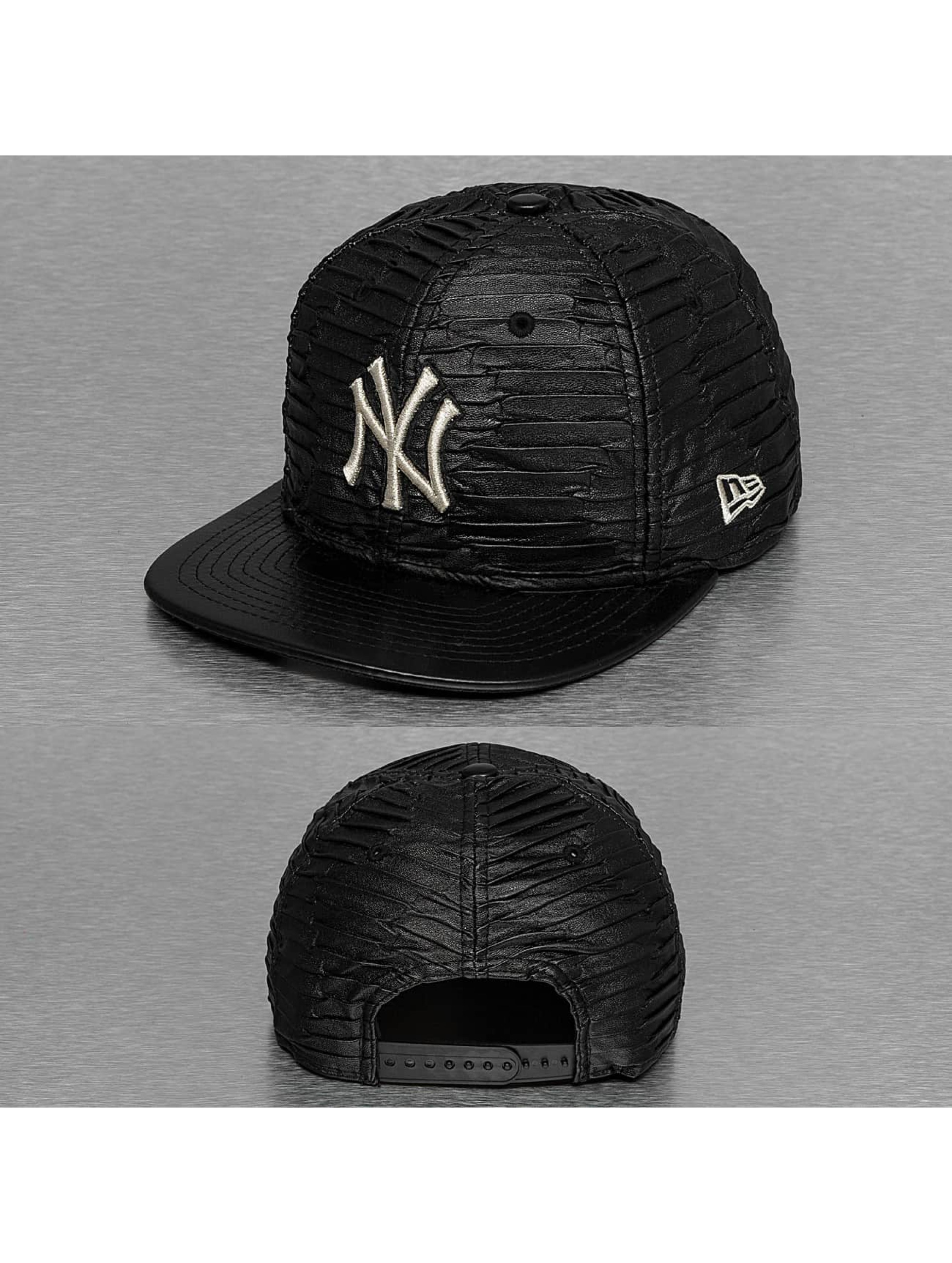 New Era Snapback Caps Leather Wave New York Yankees svart