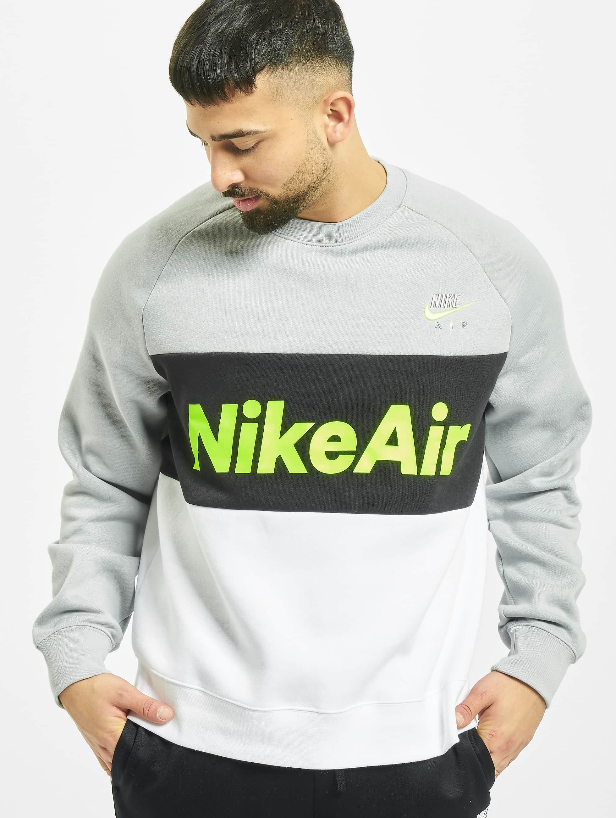 Nike Air Crew Fleece Sweatshirt Lt Smoke GreyWhiteBlackVolt