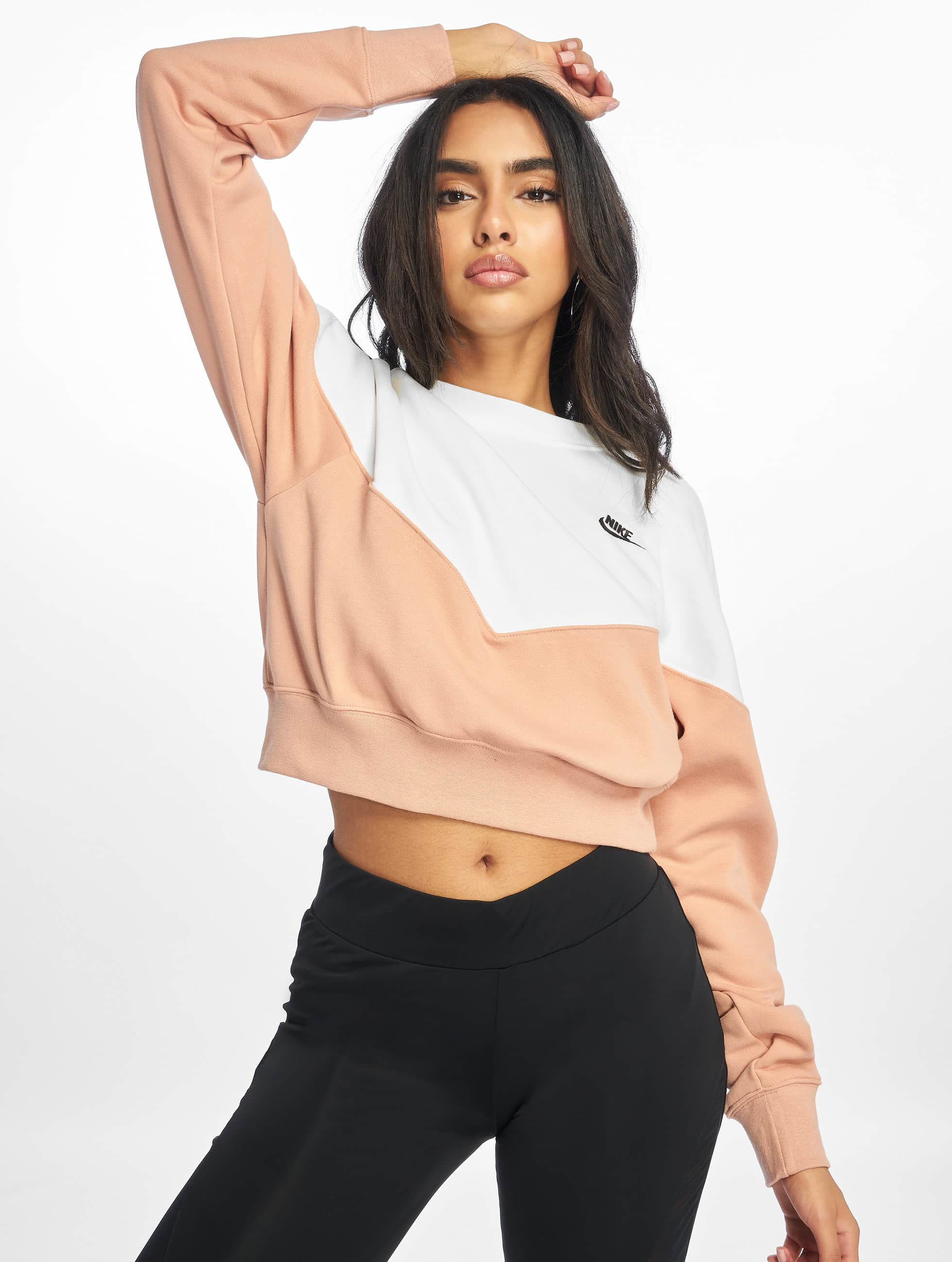 Nike Heritage Crew Fleece Sweatshirt Rose GoldenSailBlack
