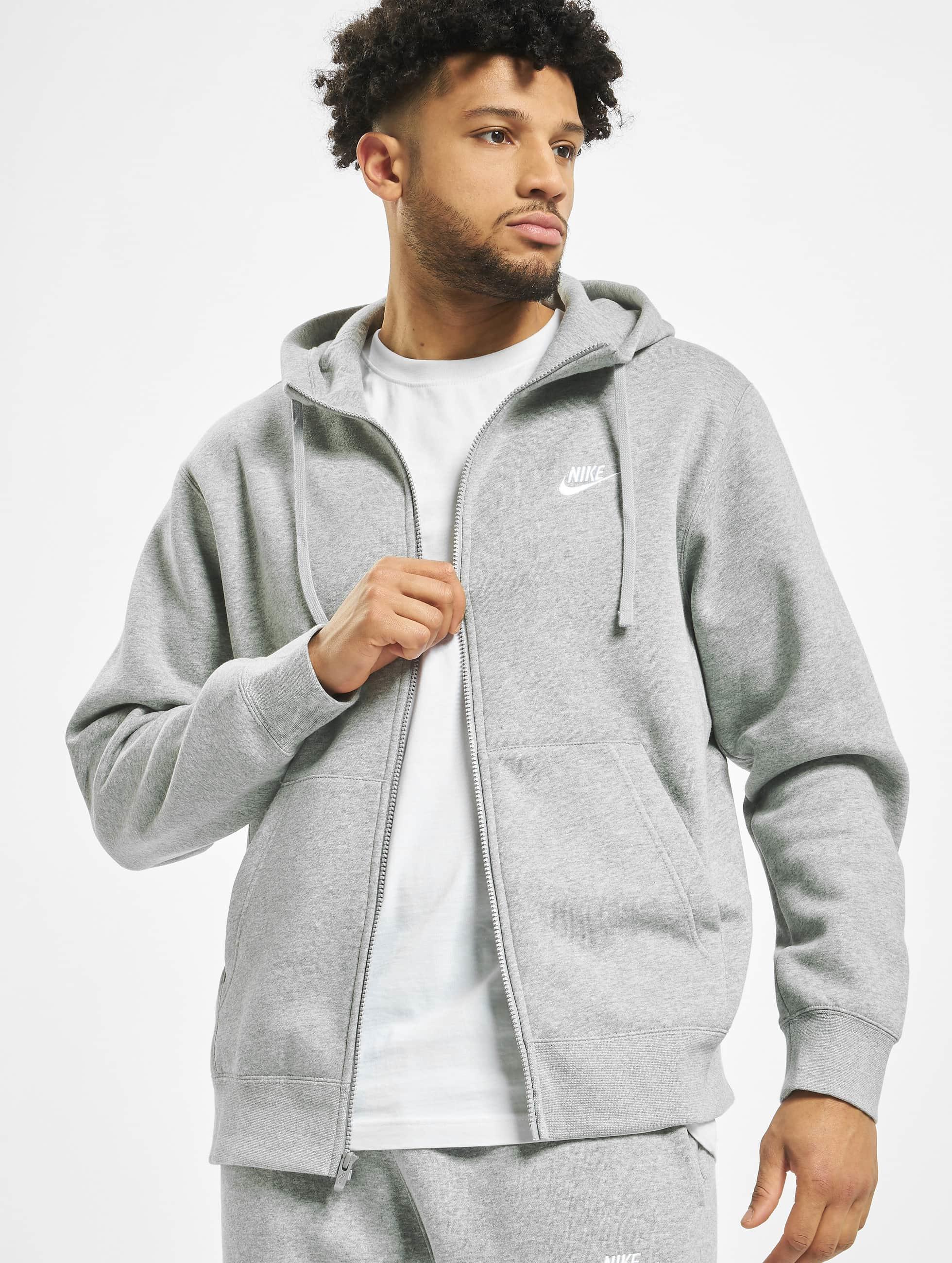 Nike Club Hoodie Full Zip Dark Grey HeatherMatte SilvernWhite