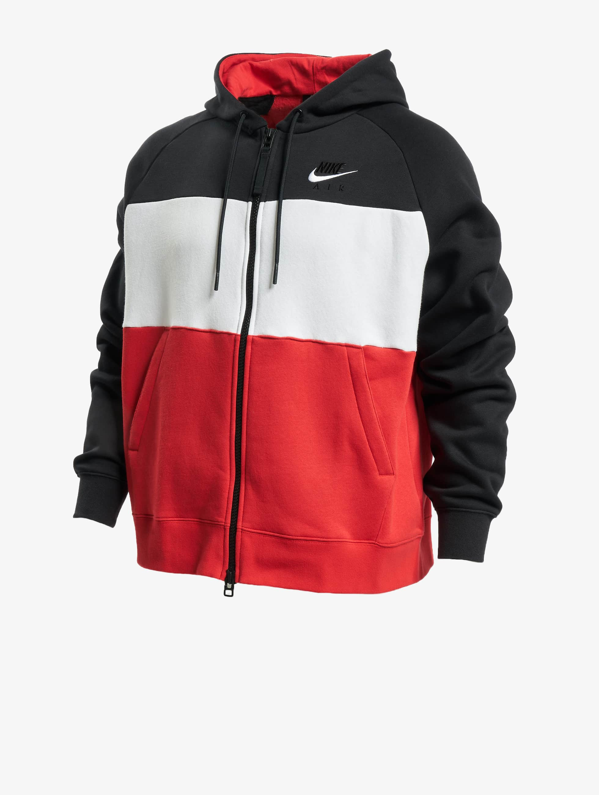 Nike Air Full Zip Fleece Hoodie BlackWhiteUniversity RedWhite