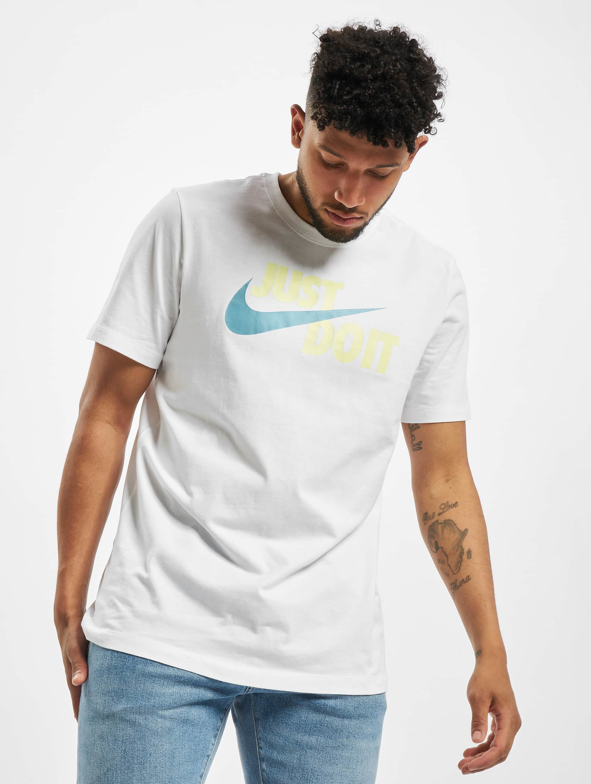 nike just do it swoosh t-shirt white/limelight/cerulean