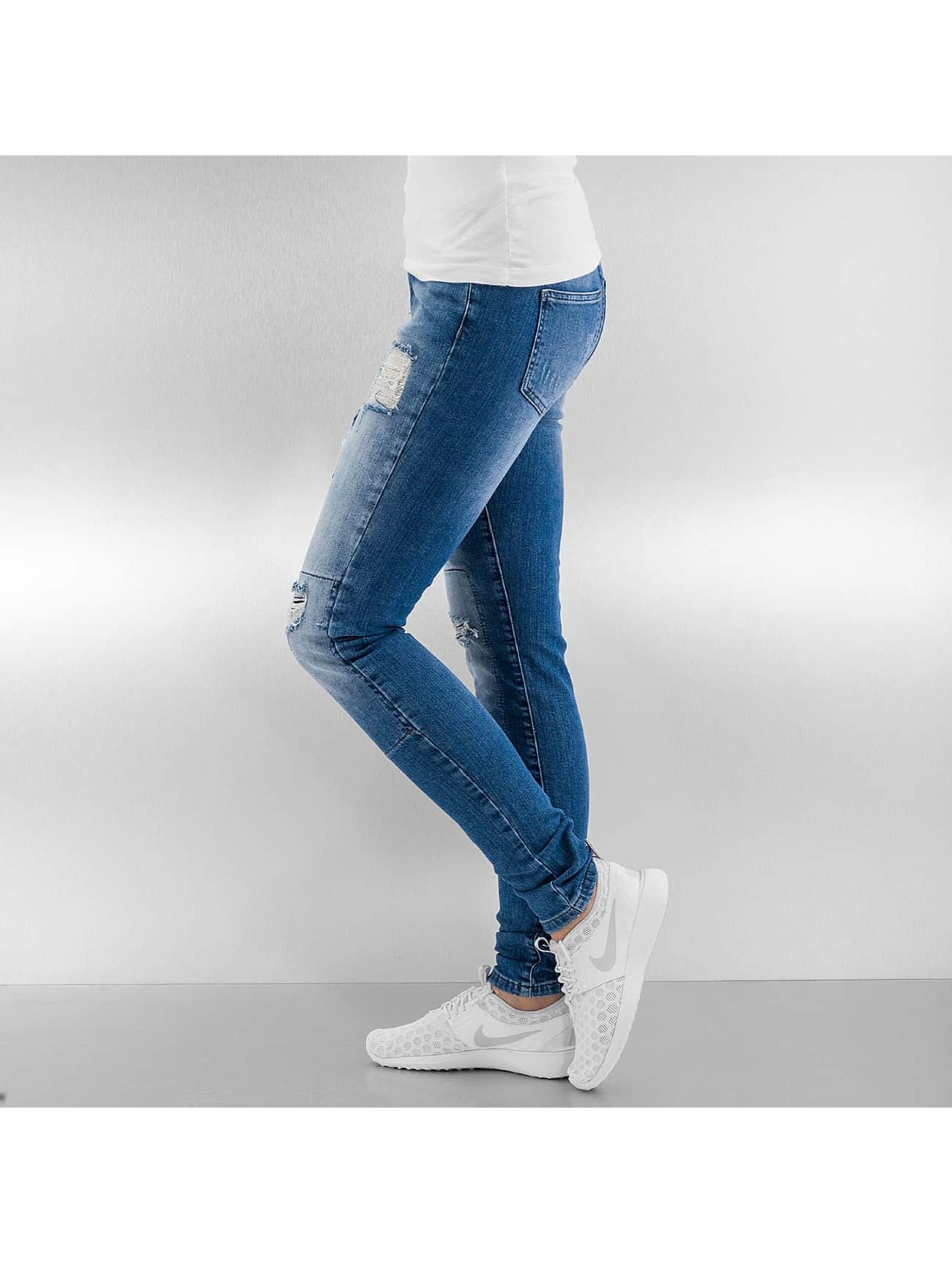 Noisy May Облегающие джинсы nmLucy Super Slim Rip Patch синий