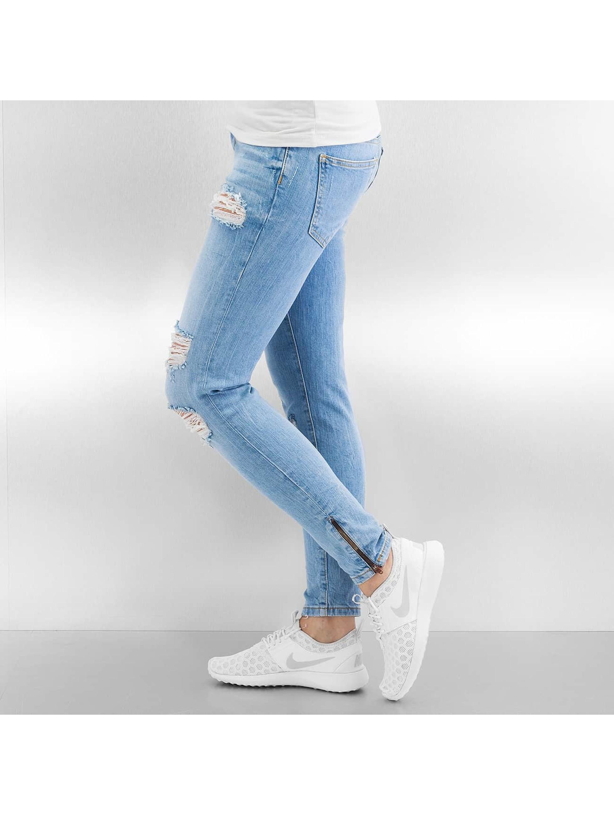 Noisy May Jean skinny nmEve Super Low Super Slim Ancle Zip bleu