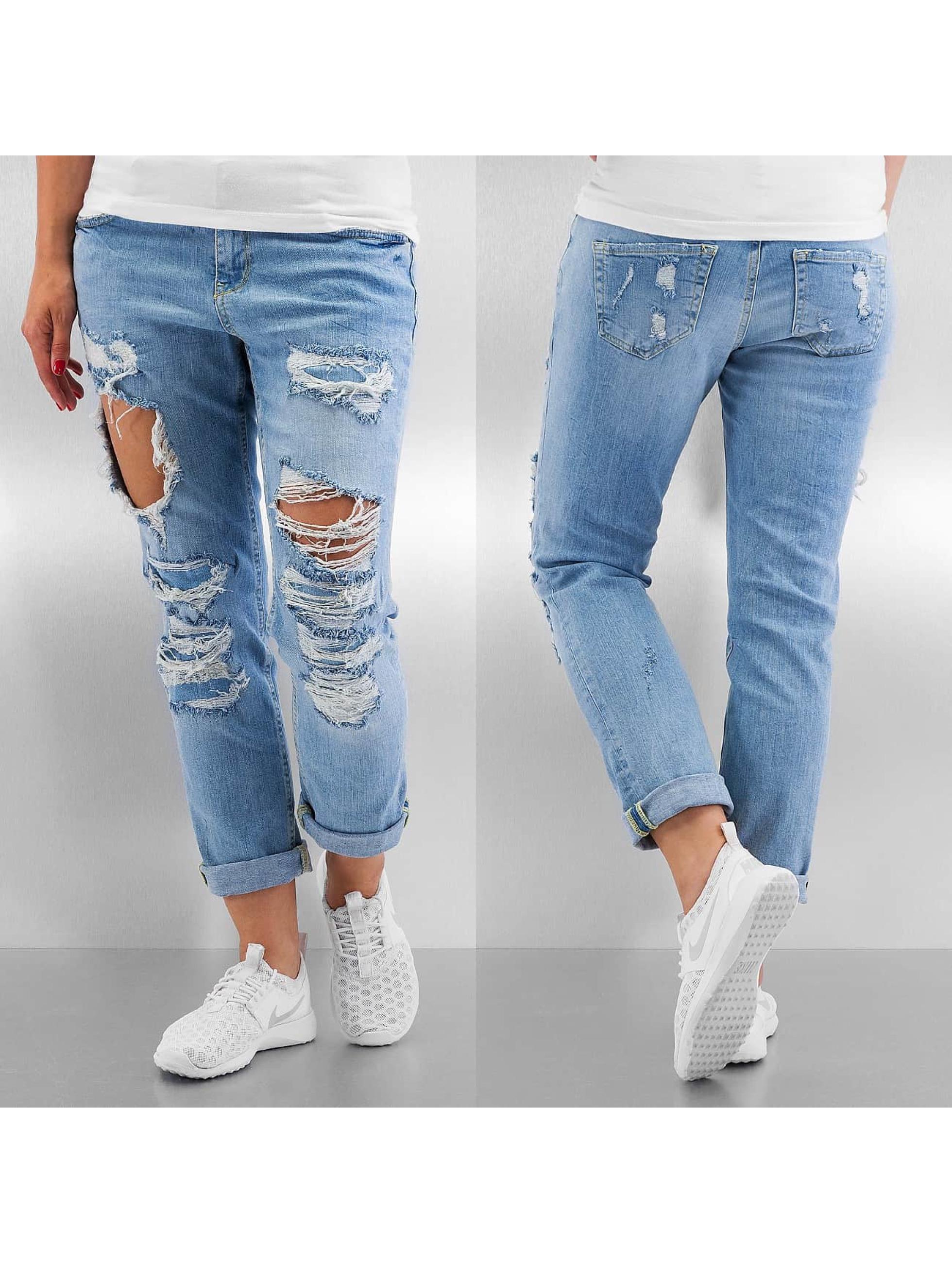 Noisy May Jean / Jeans Boyfriend nmSCarlet Regular Destroyed en bleu