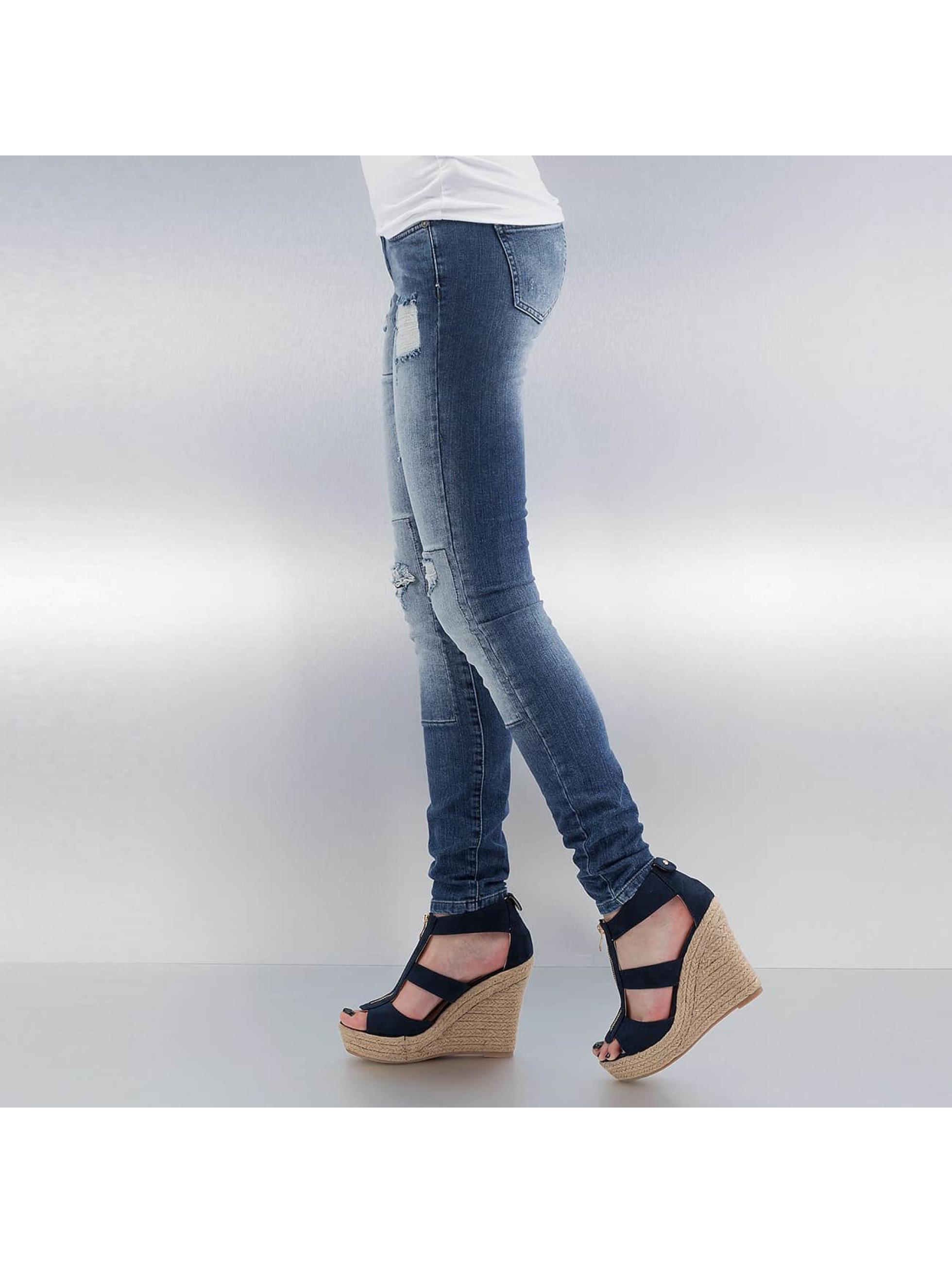 Noisy May Skinny Jeans mEve Low Slim Rip Patch blau