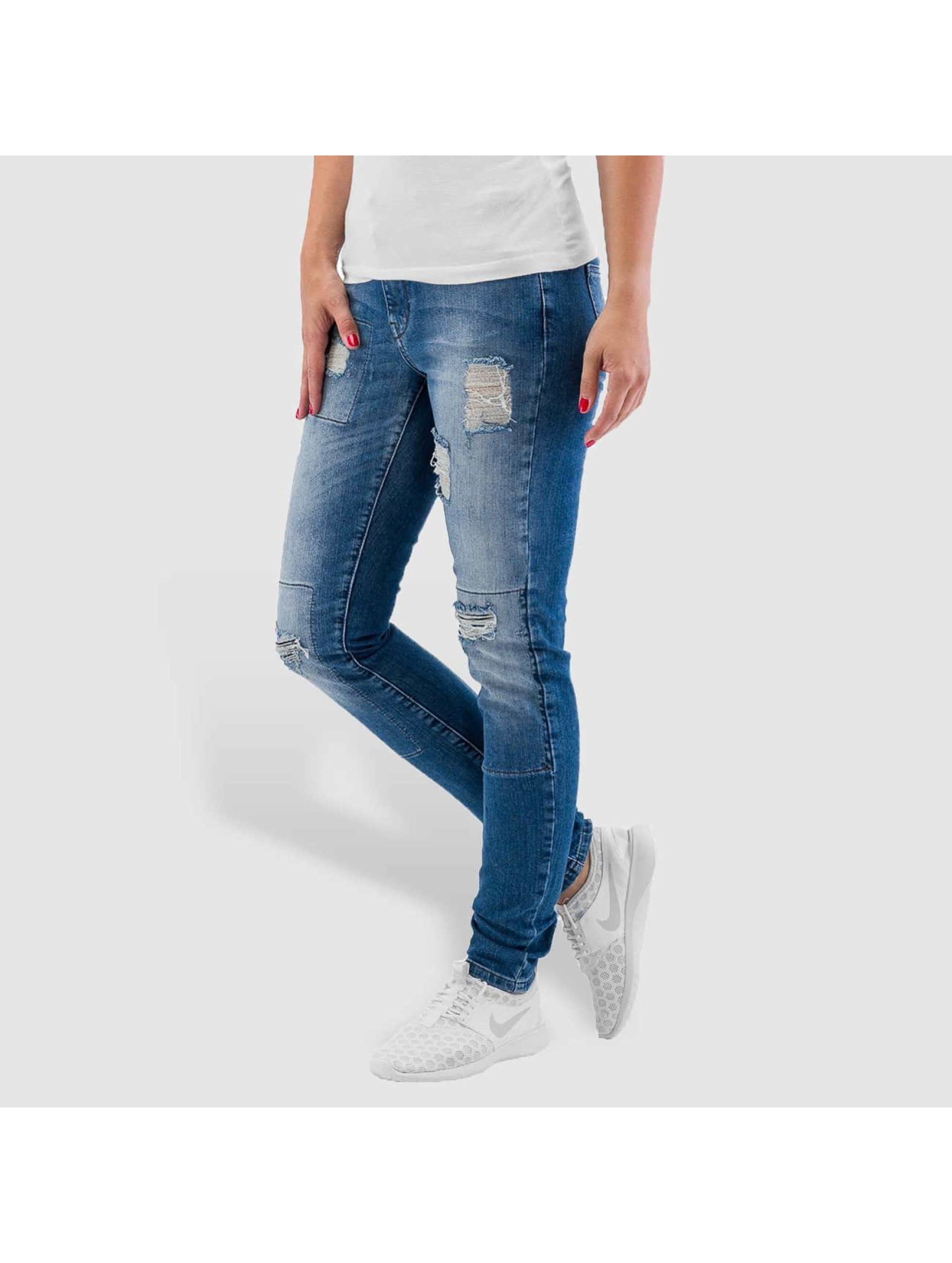 Noisy May Skinny jeans nmLucy Super Slim Rip Patch blauw