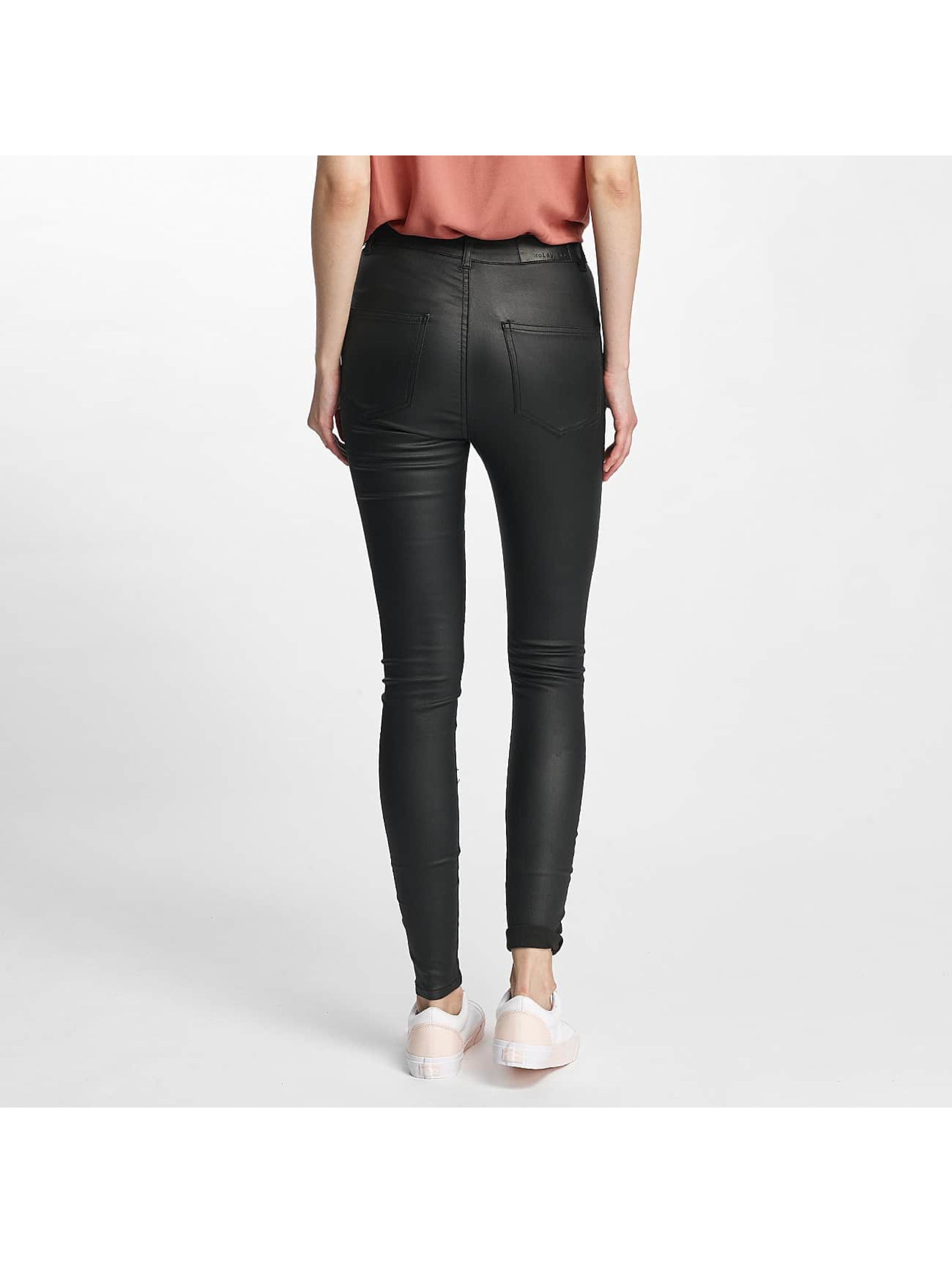 Noisy May Skinny Jeans nmElla Deluxe Coated czarny