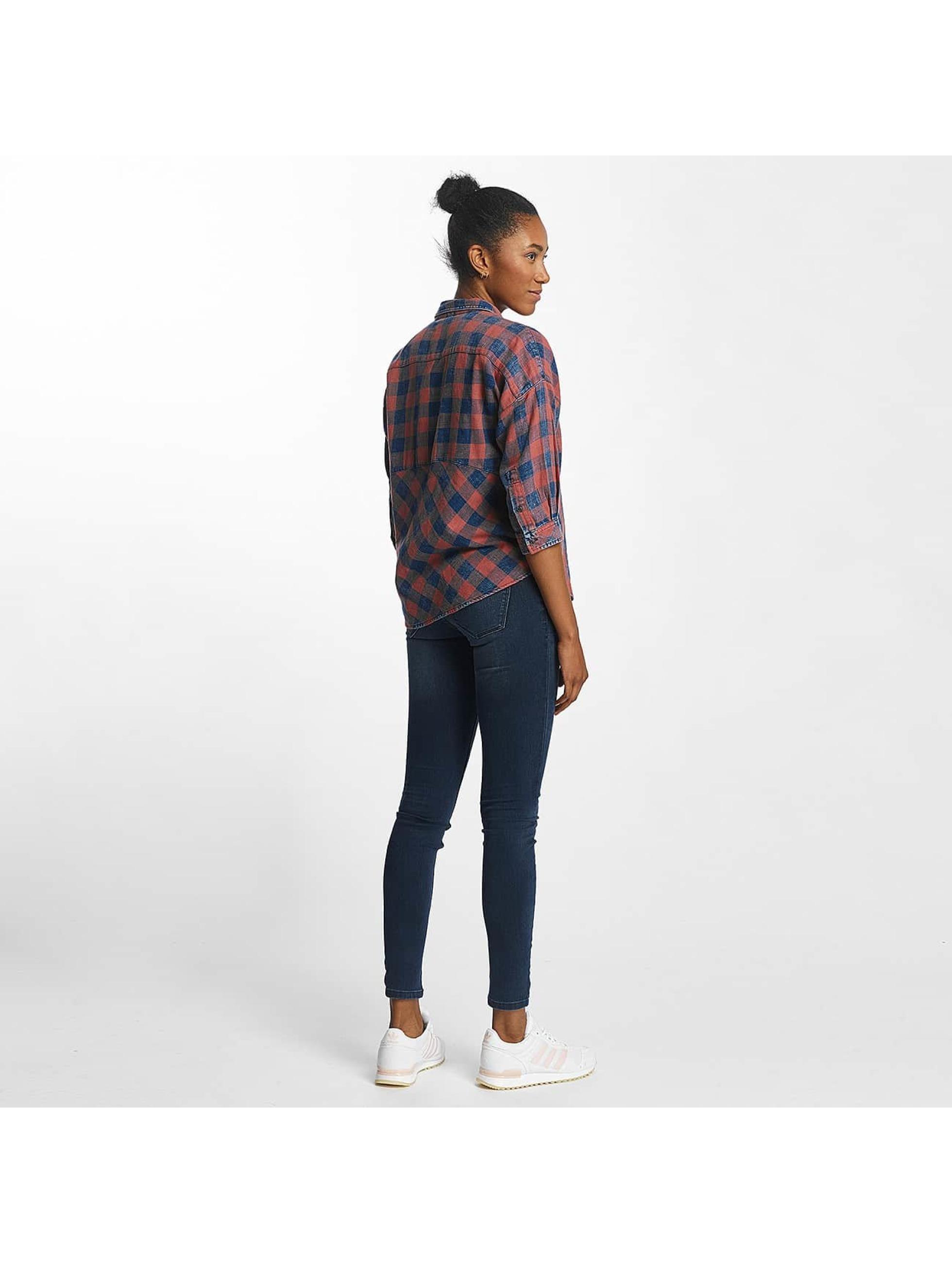 Only Bluse onlElif 3/4 Sleeve Check Denim blau