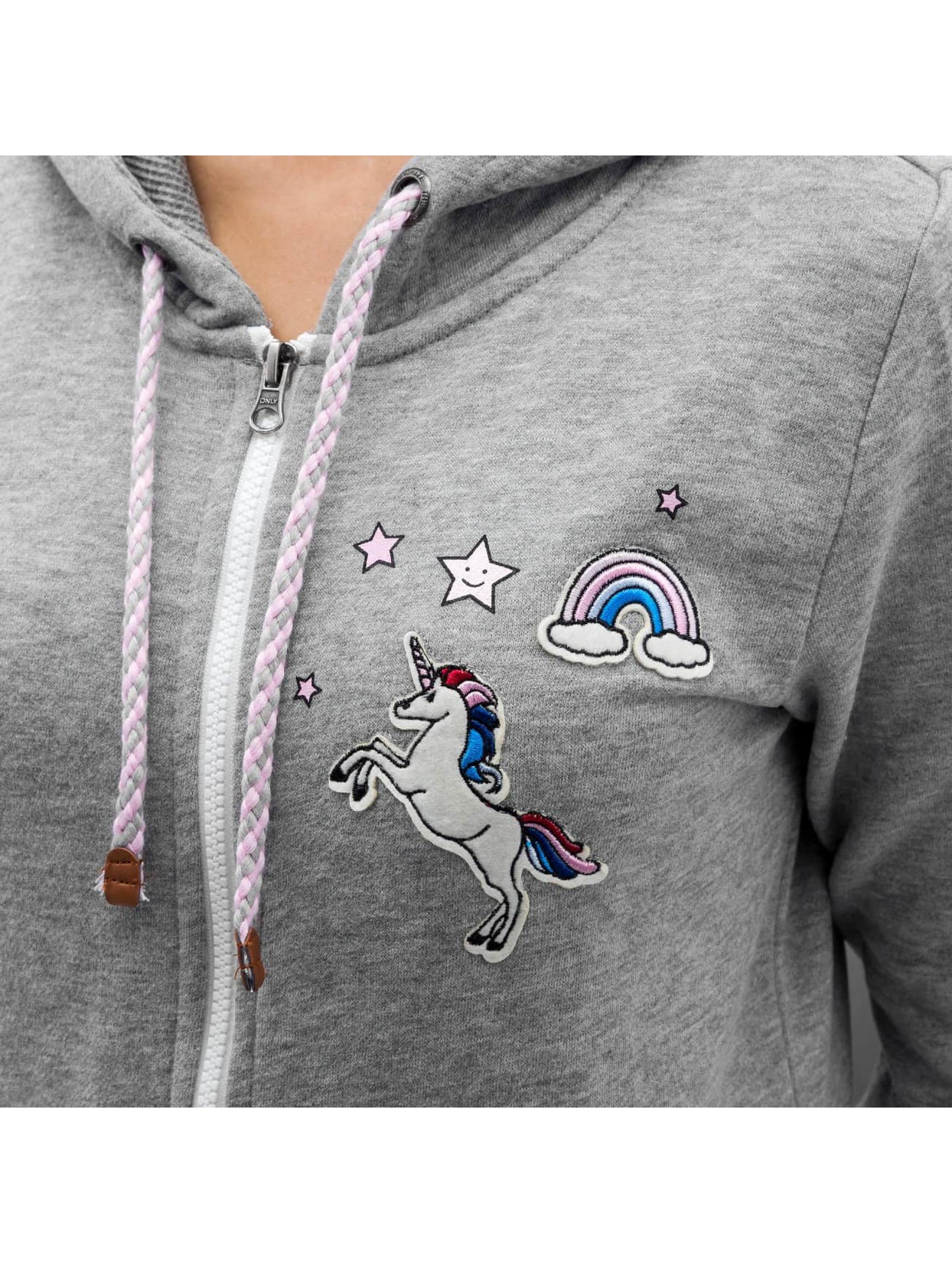 Only Hoodies con zip onlFinley Unicorn grigio