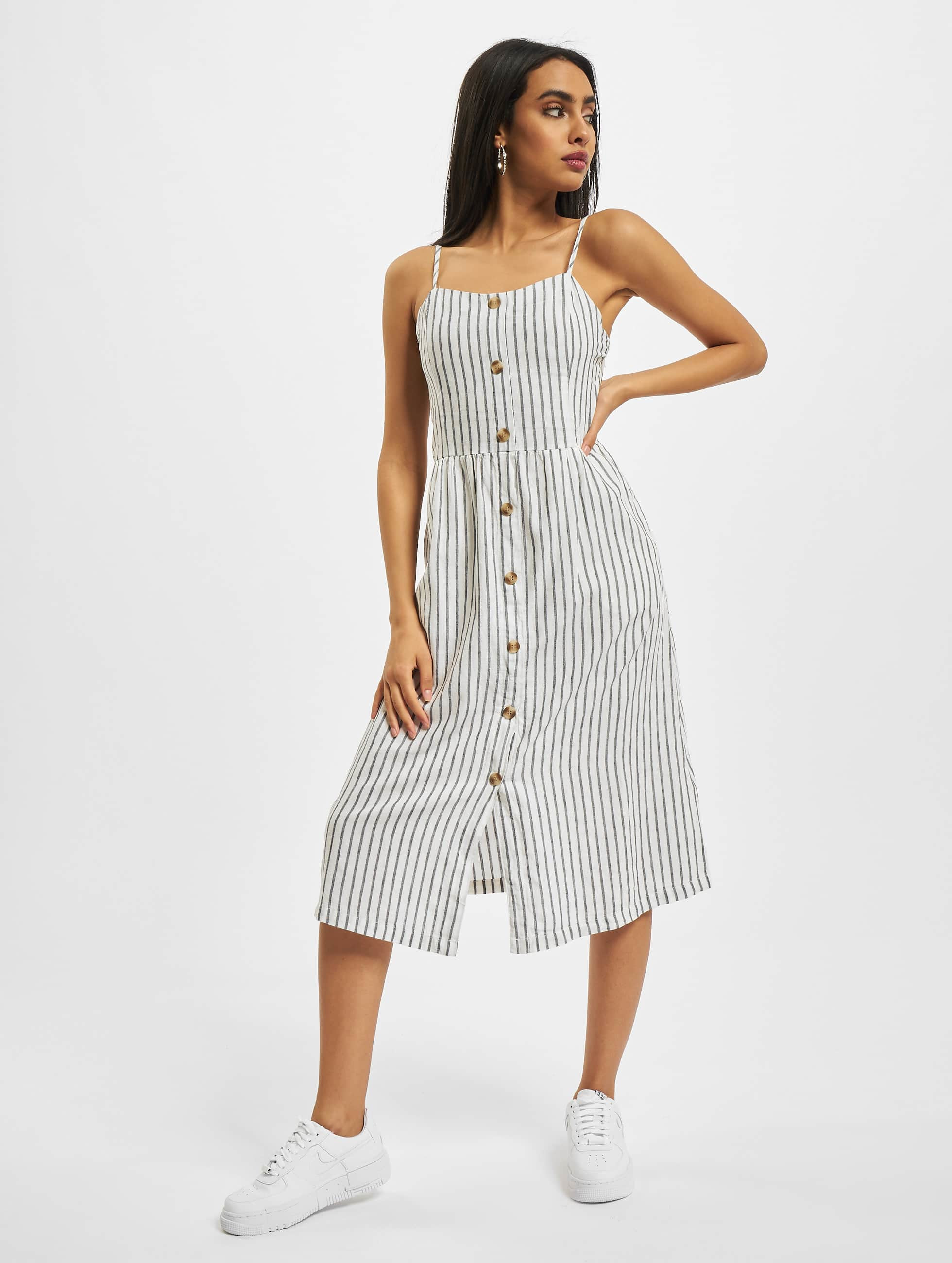only onlluna strap stripe denim dress white