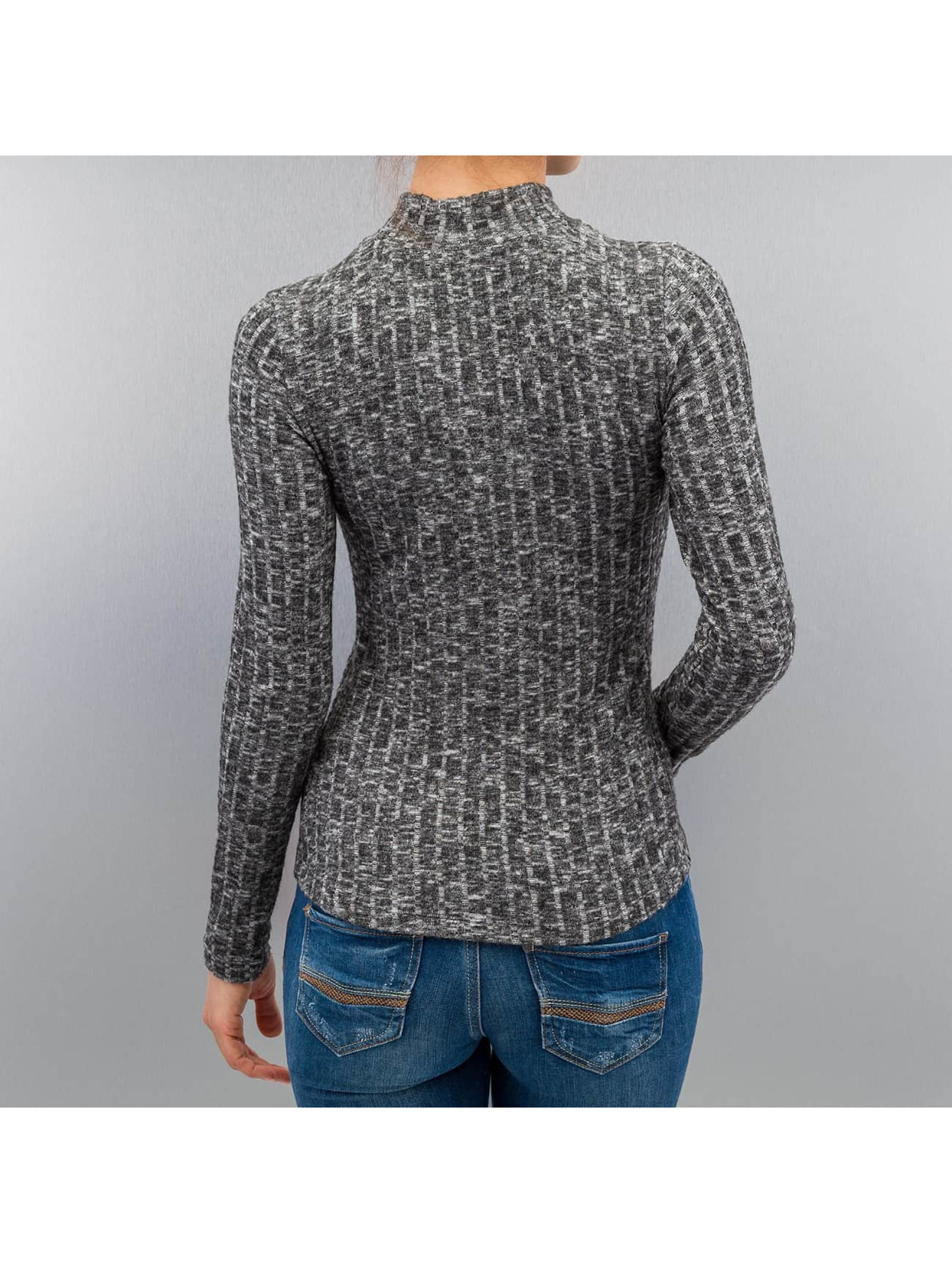 Only T-Shirt manches longues onlGreat Ripena High Neck Longsleeve gris