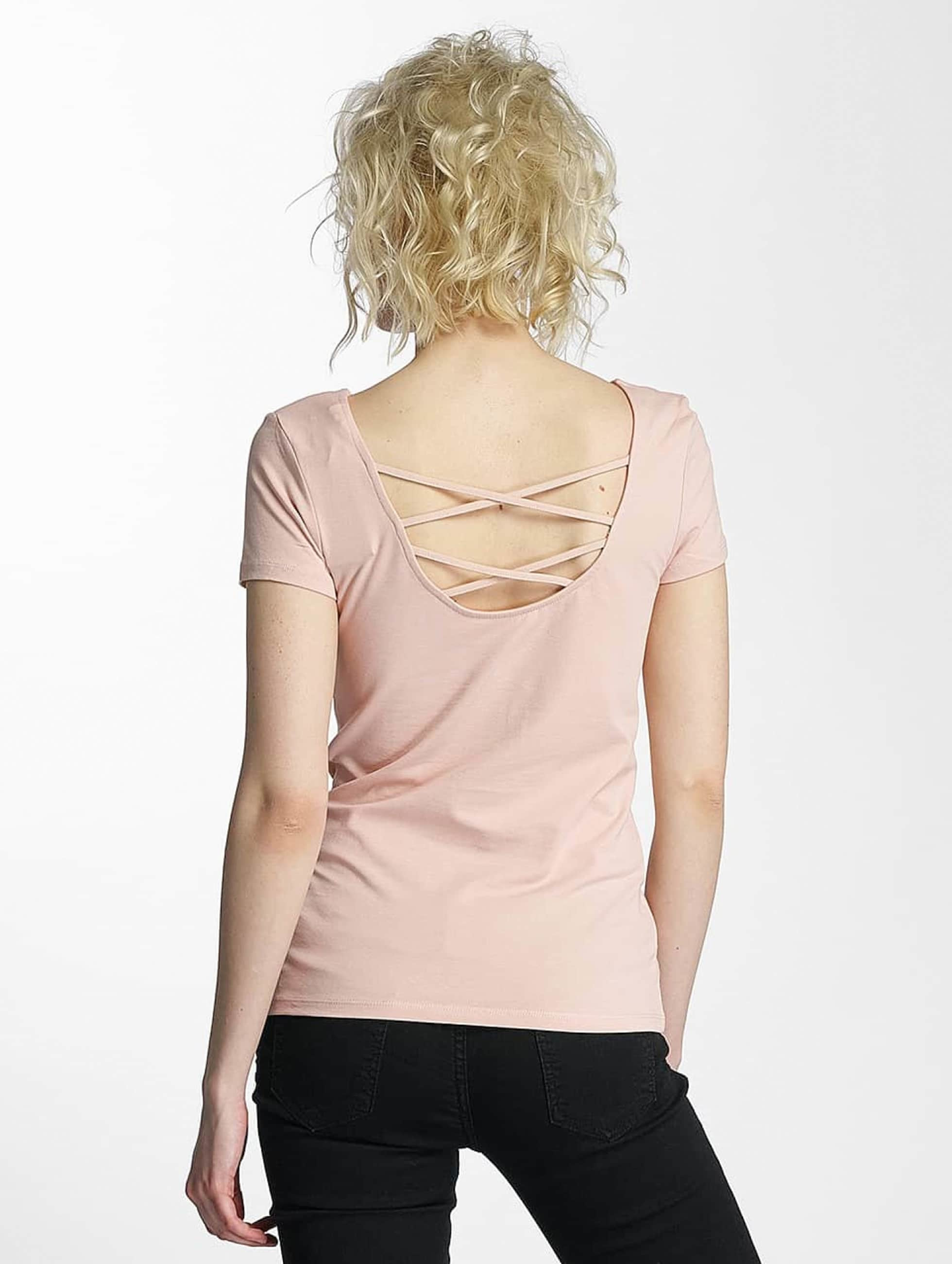 Only T-Shirt onlLive Love Lace Up rosa