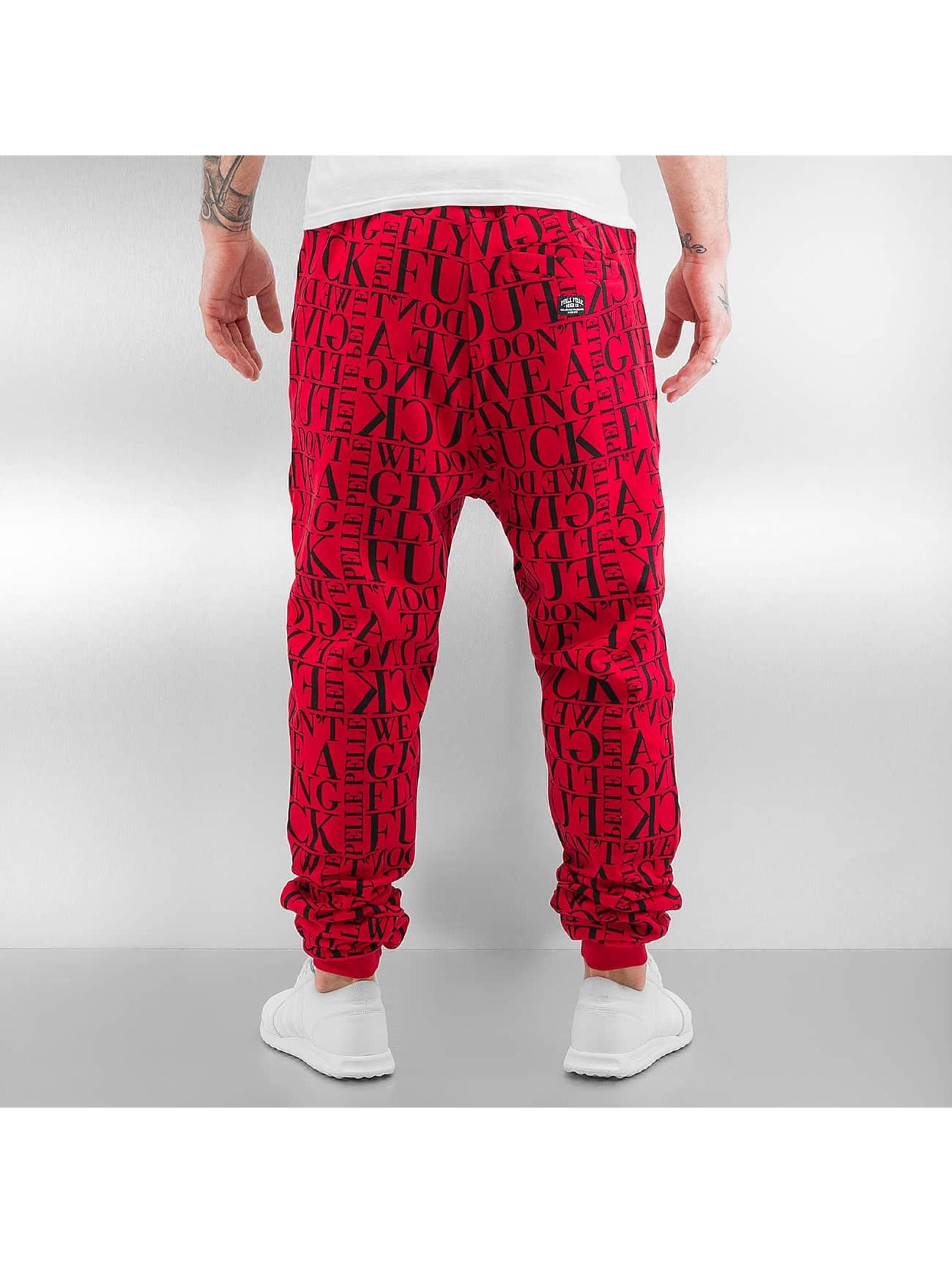 Pelle Pelle Spodnie do joggingu We Don't Give A * czerwony