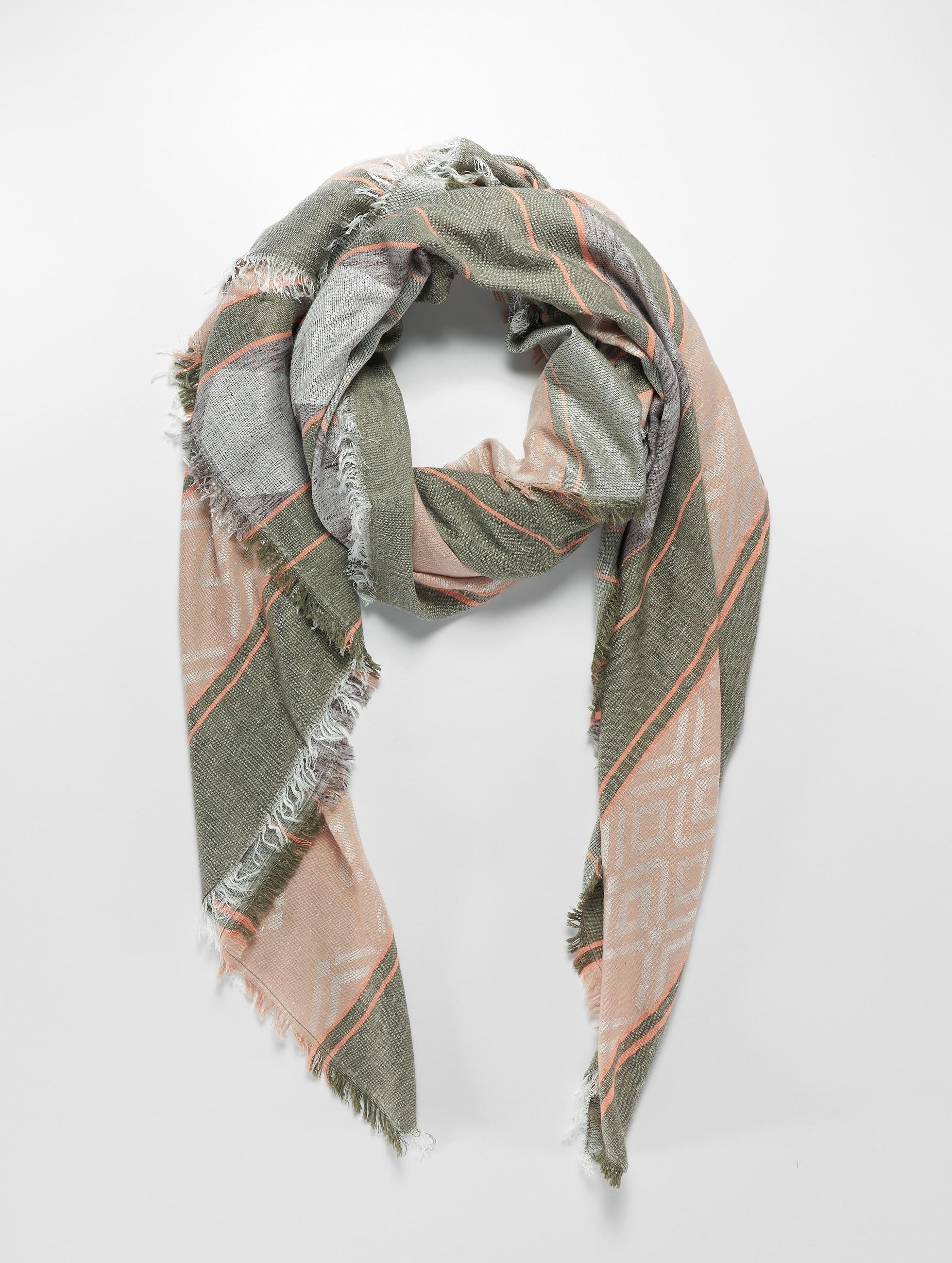 Pieces sjaal pcBelise Square grijs
