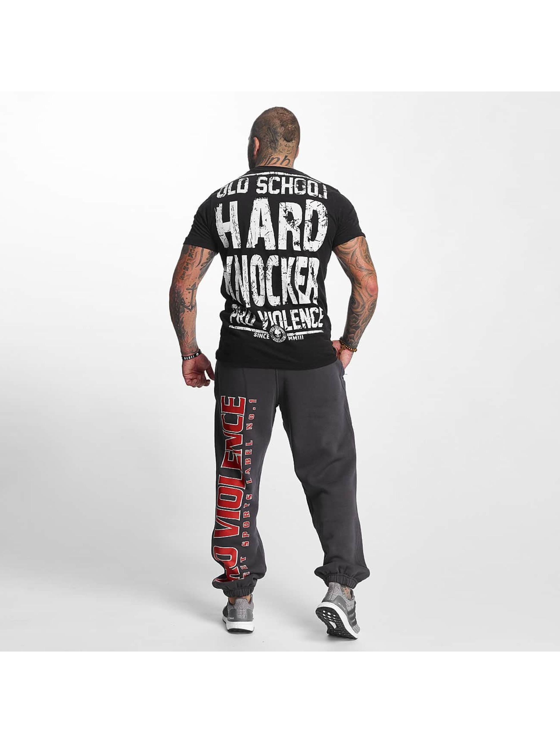Pro Violence Streetwear T-paidat Oldschool Hardknocker musta