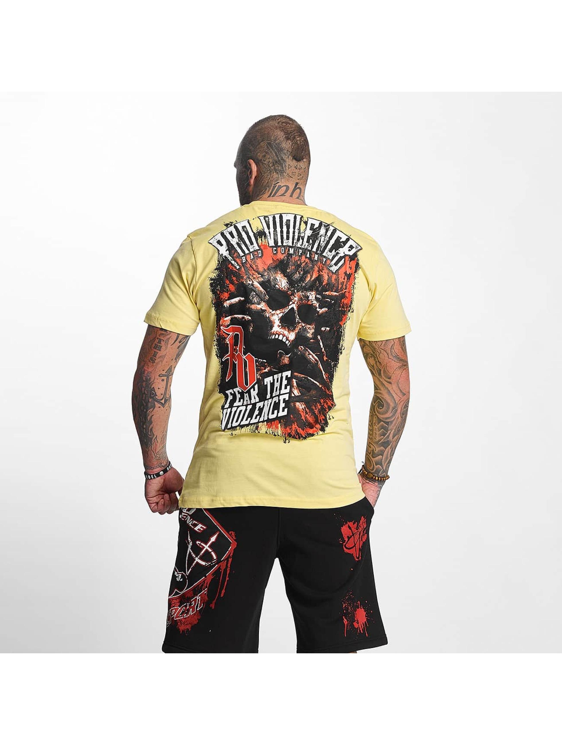 Pro Violence Streetwear t-shirt The Violence Fear geel
