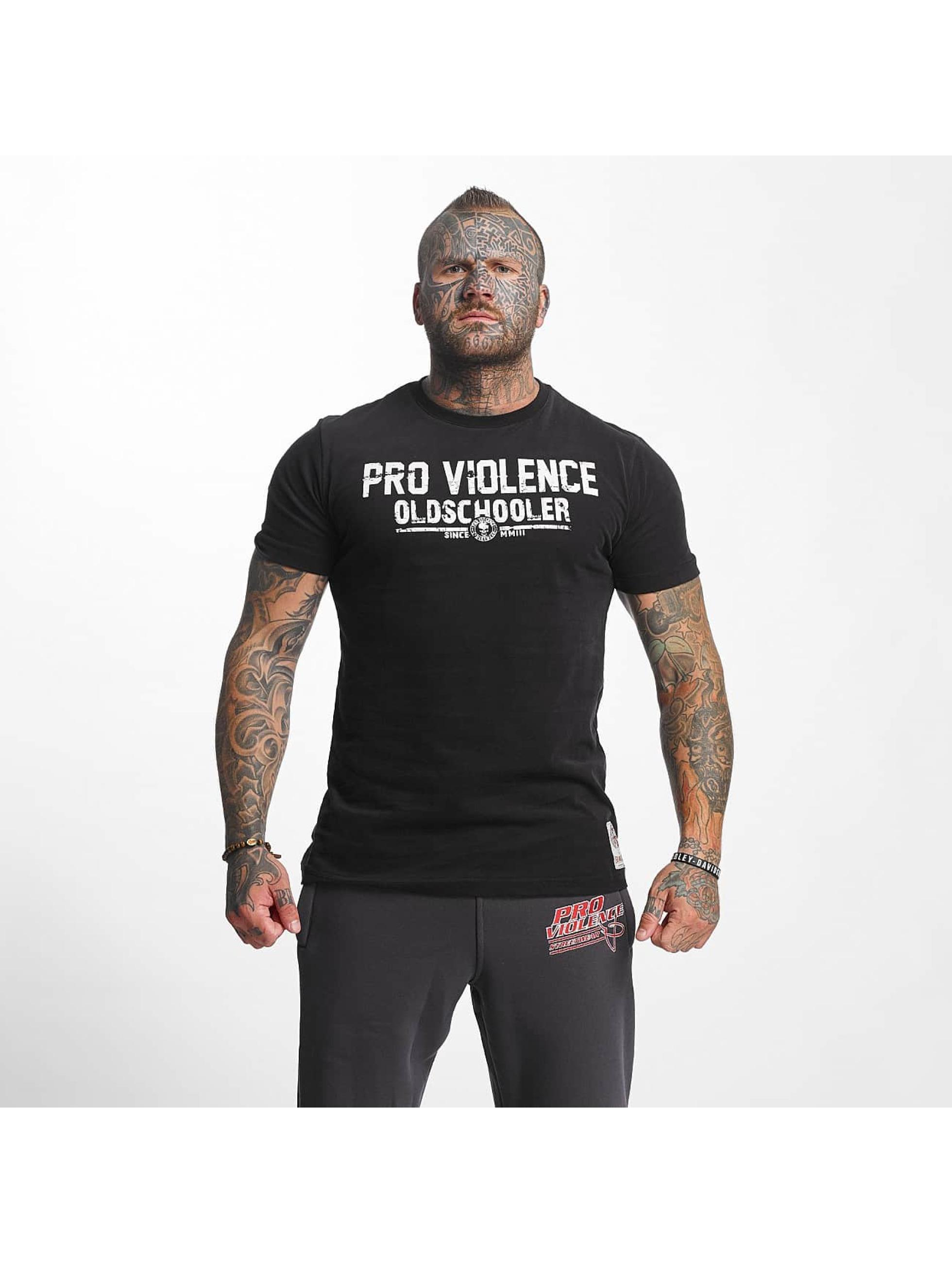 Pro Violence Streetwear T-Shirt Oldschool Hardknocker noir