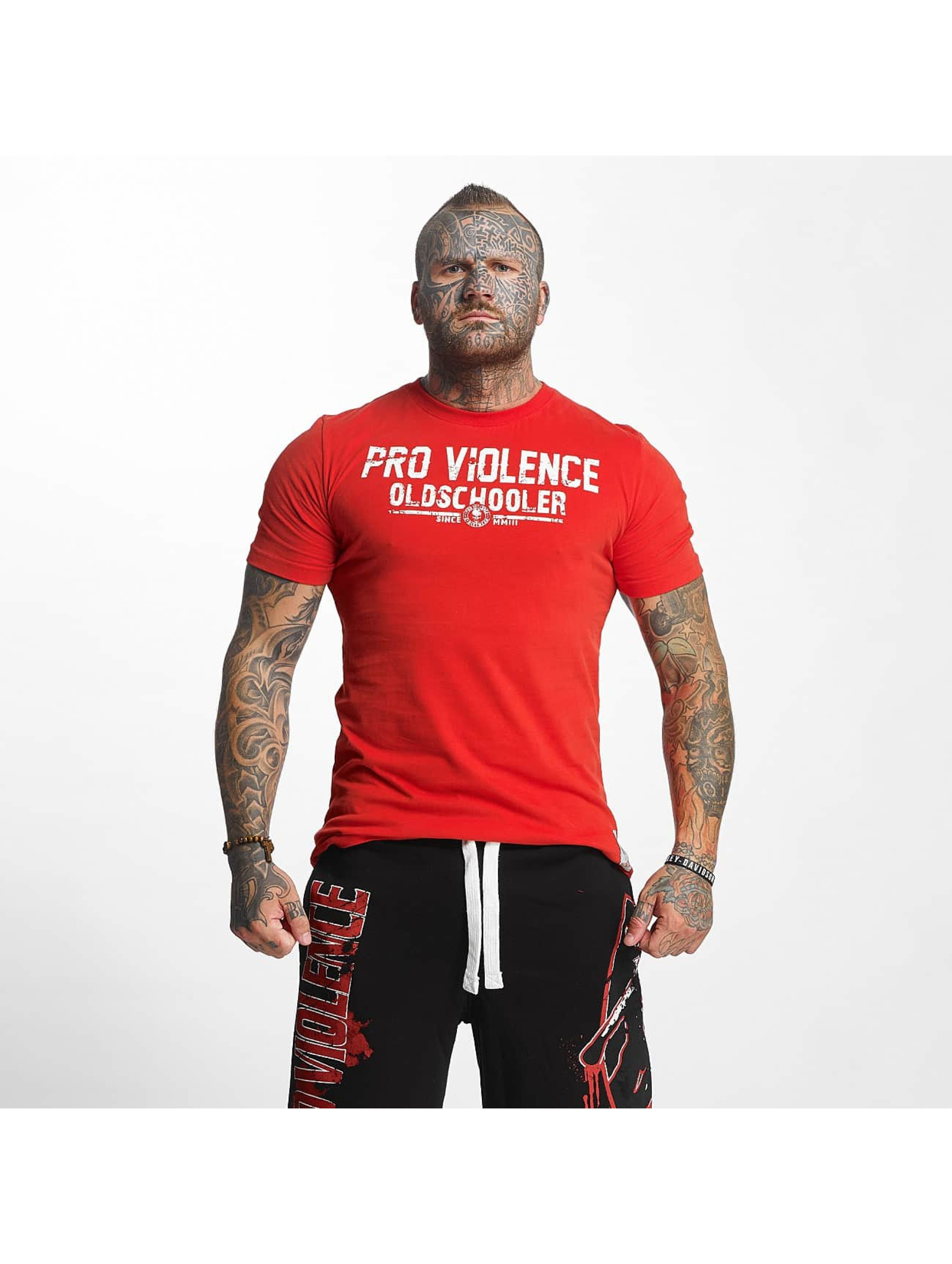 Pro Violence Streetwear T-Shirt Oldschool Hardknocker rot