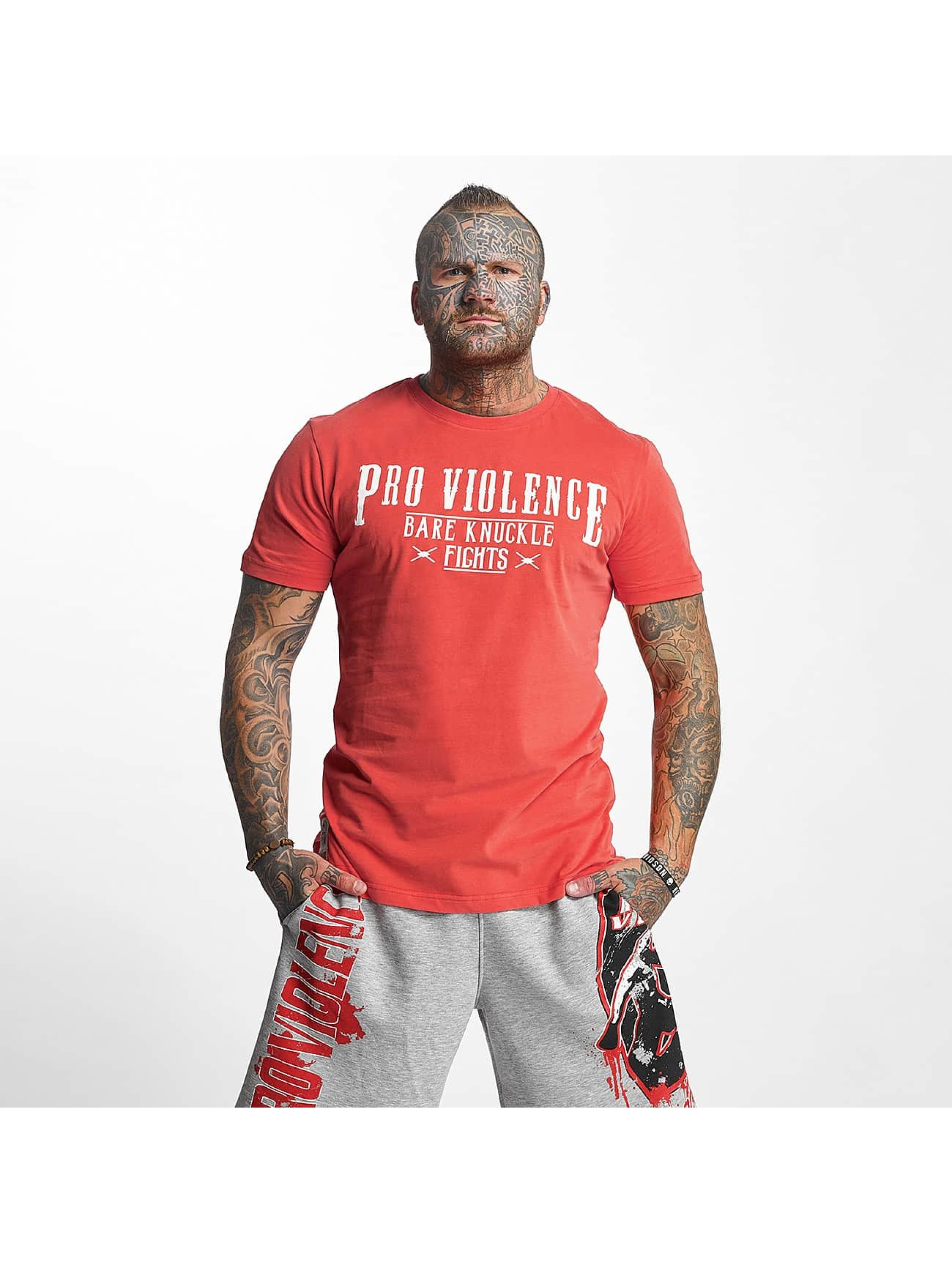 Pro Violence Streetwear T-Shirt Knuckle Bare rouge