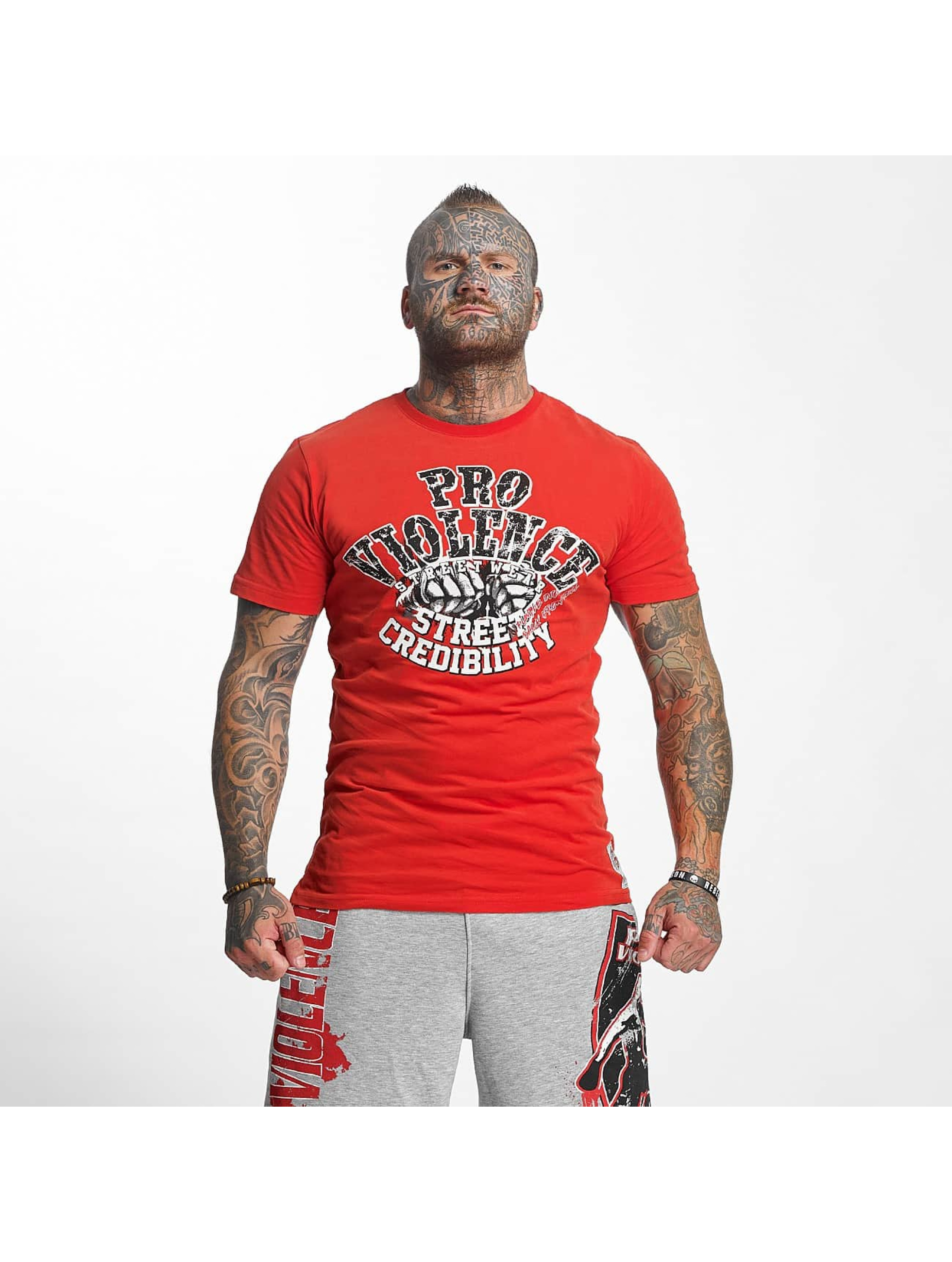 Pro Violence Streetwear T-Shirty Street Ceidbilty czerwony