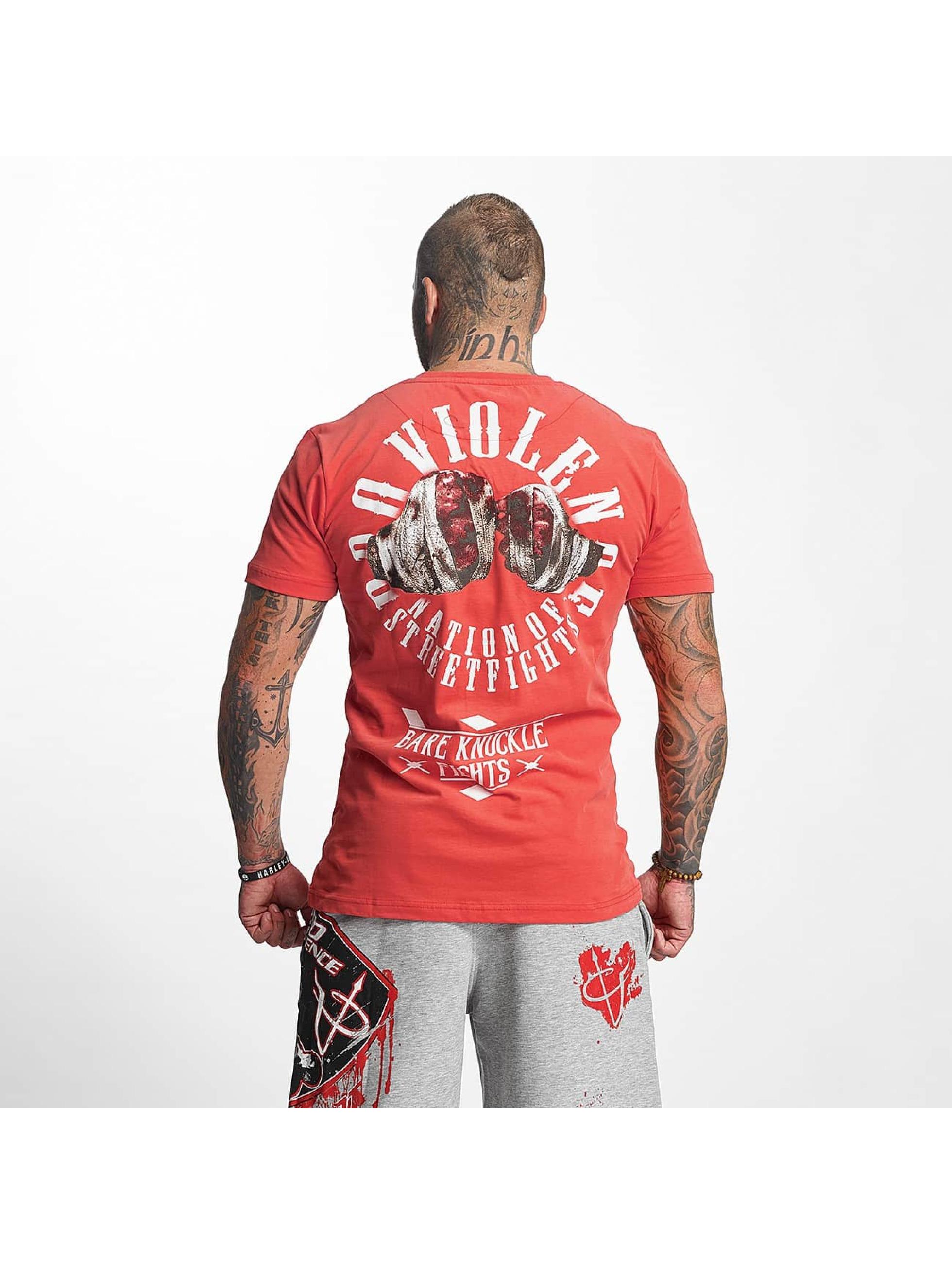 Pro Violence Streetwear T-Shirty Knuckle Bare czerwony