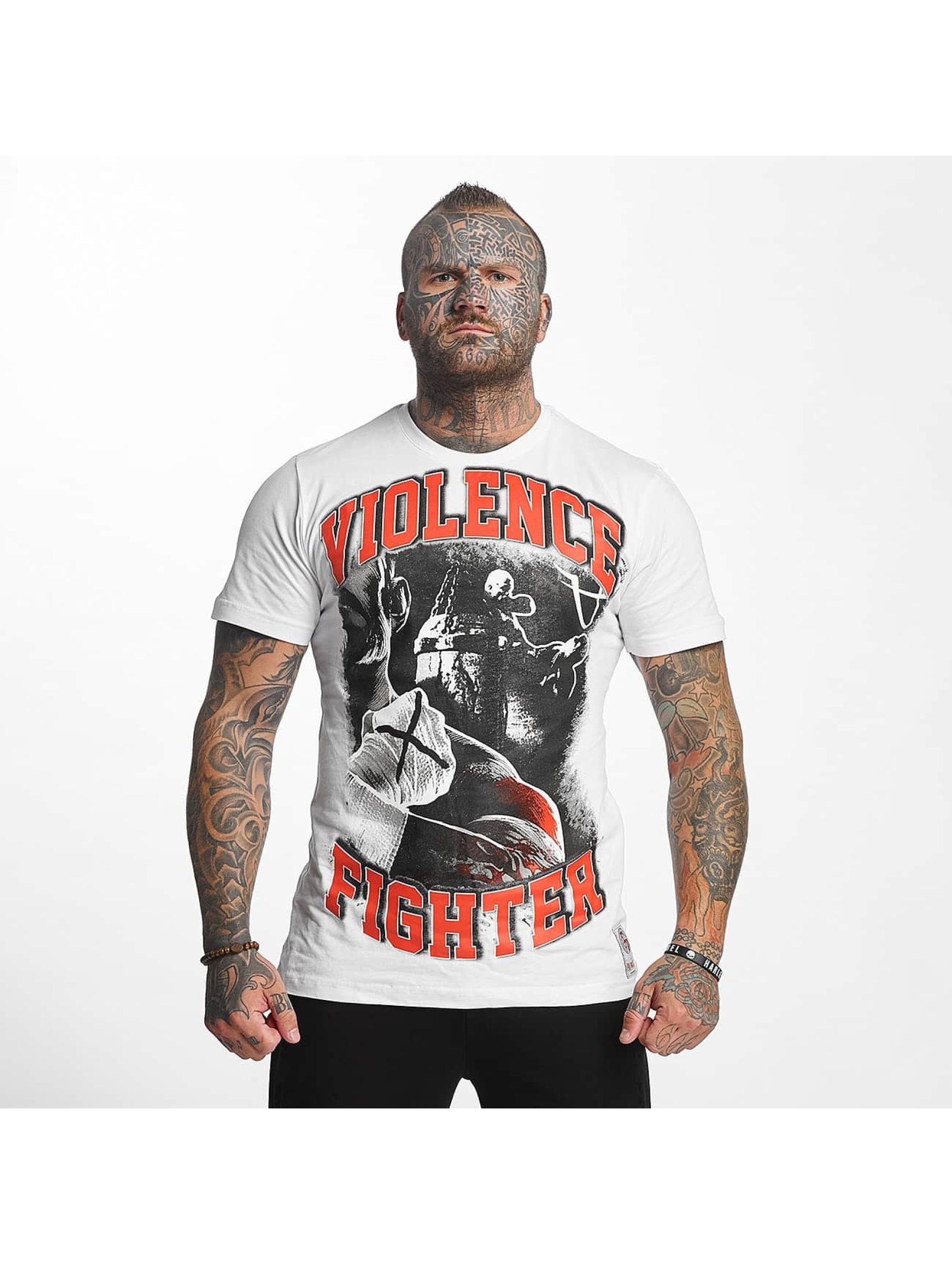 Pro Violence Streetwear T-skjorter Fighter hvit