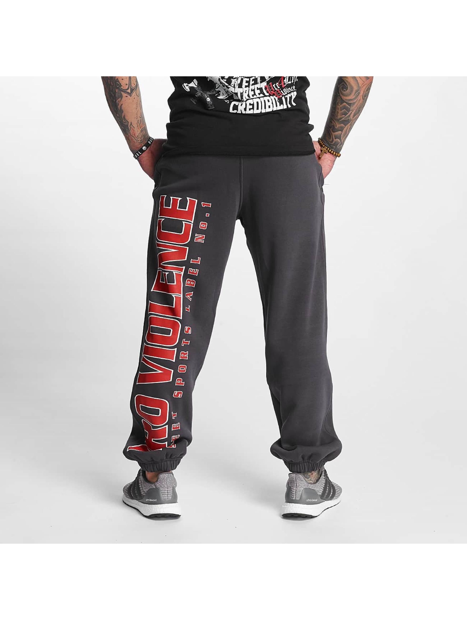 Pro Violence Streetwear tepláky Label No. 1 šedá
