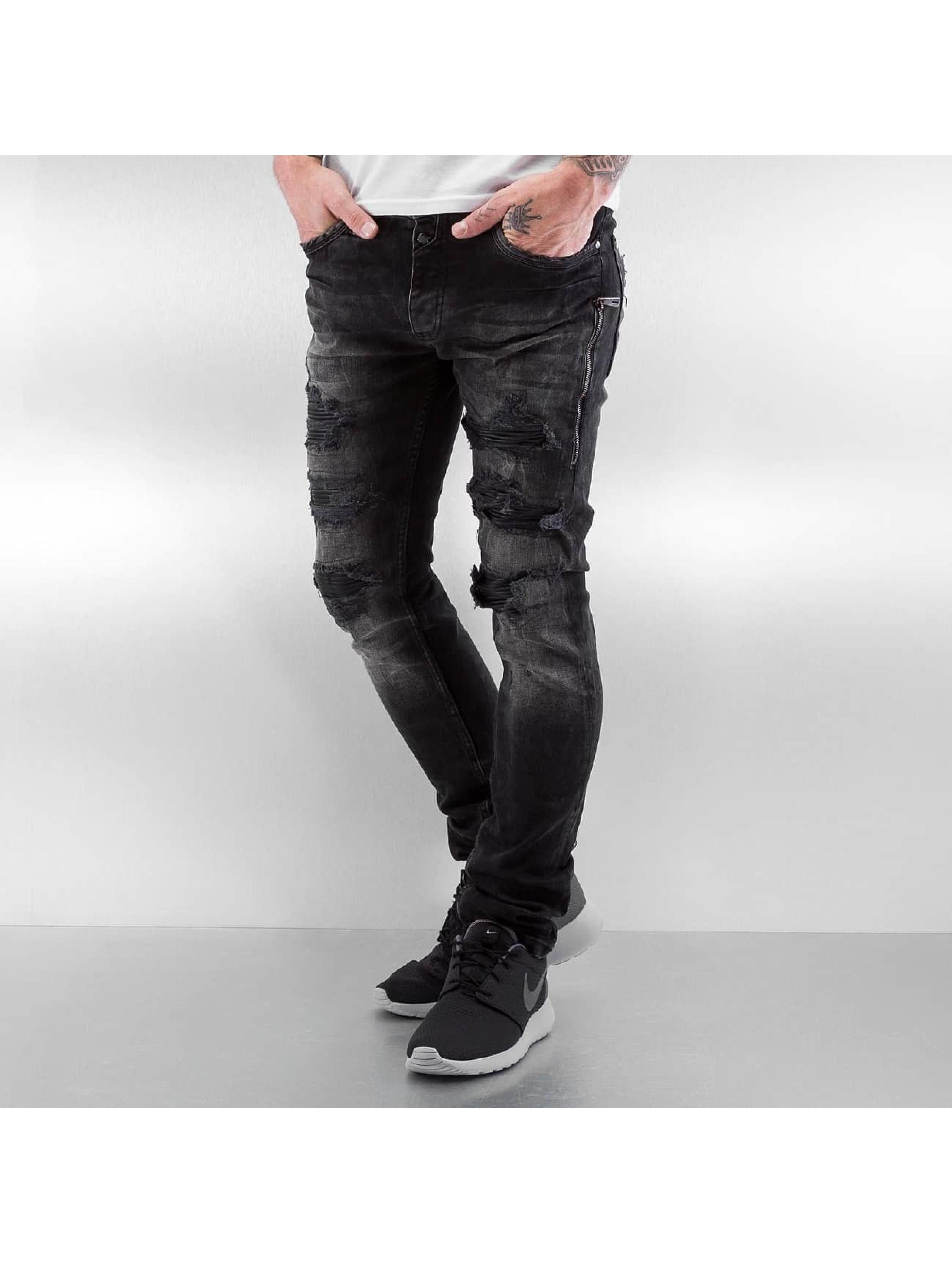 Skinny Jeans Ripped Leather Biker in blau