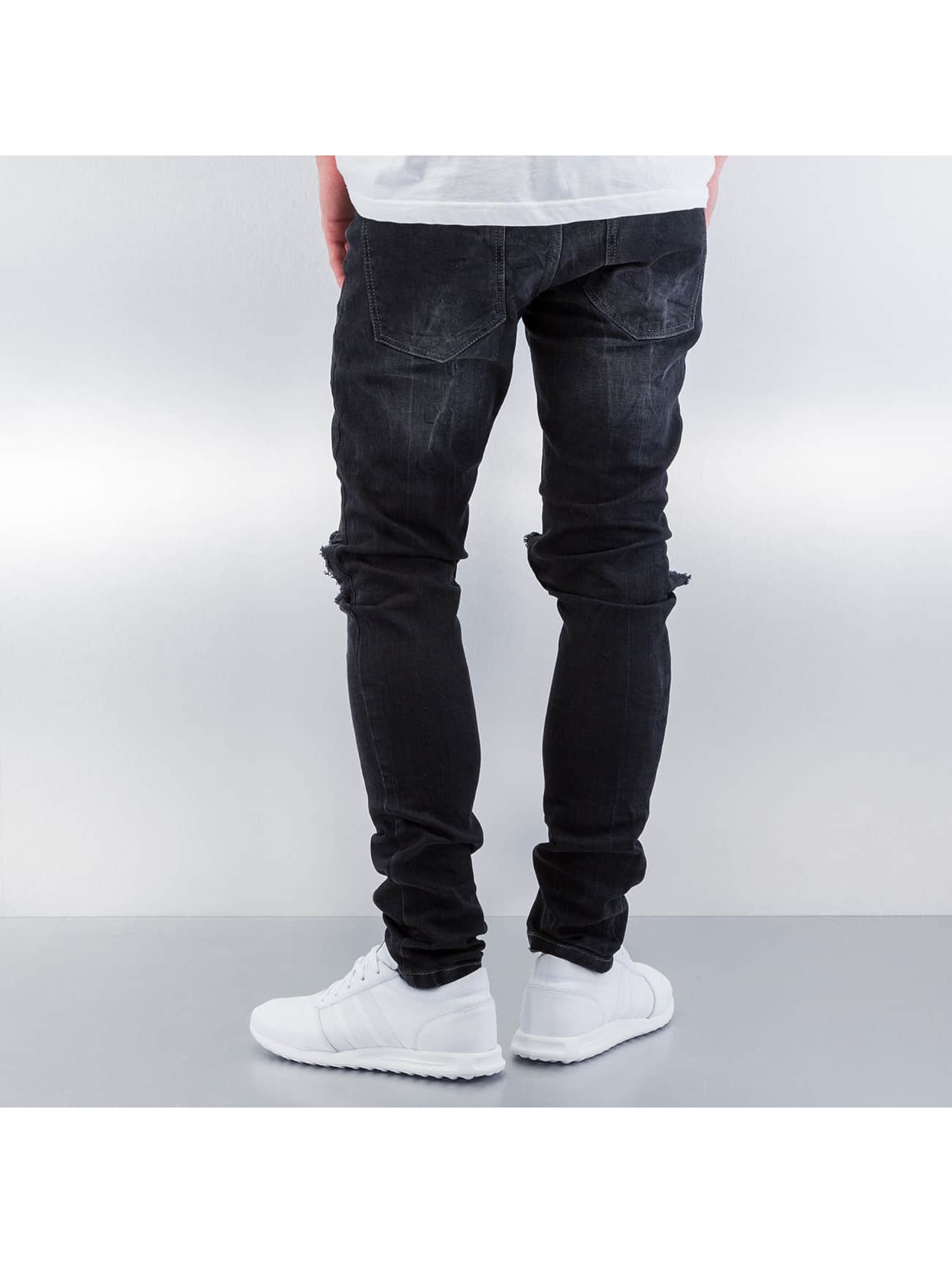 Red Bridge Straight Fit Jeans Destryoed Knee black