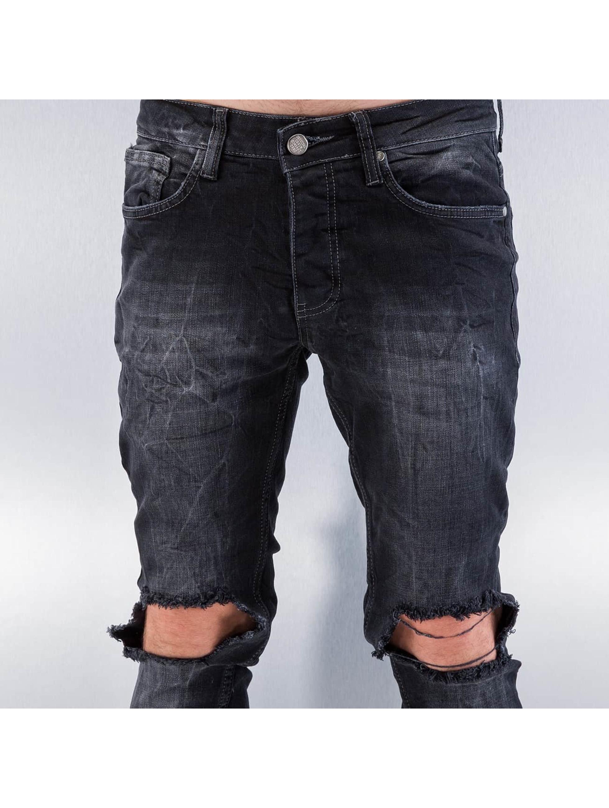 Red Bridge Straight Fit Jeans Destryoed Knee schwarz