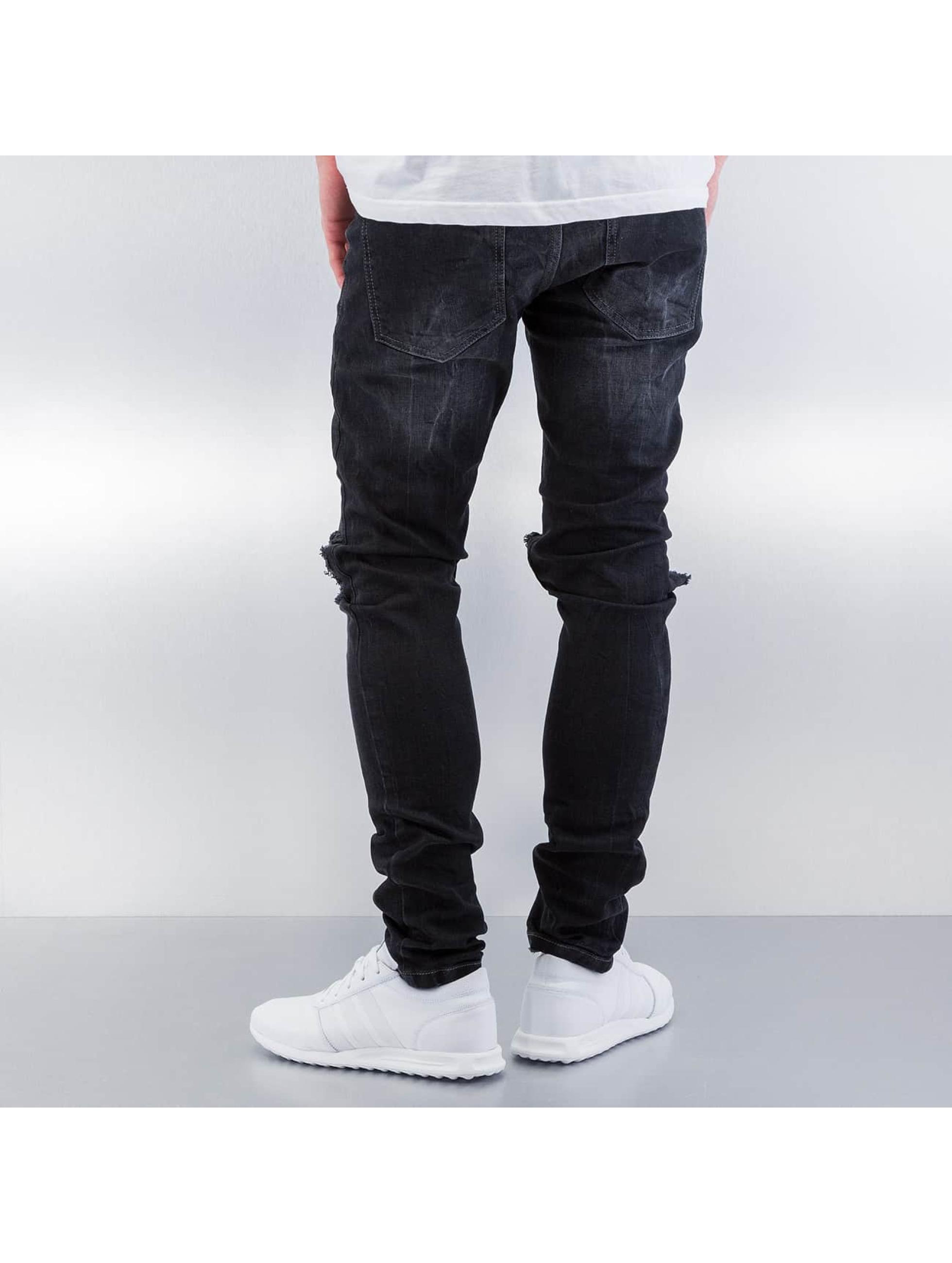 Red Bridge Straight Fit Jeans Destryoed Knee svart