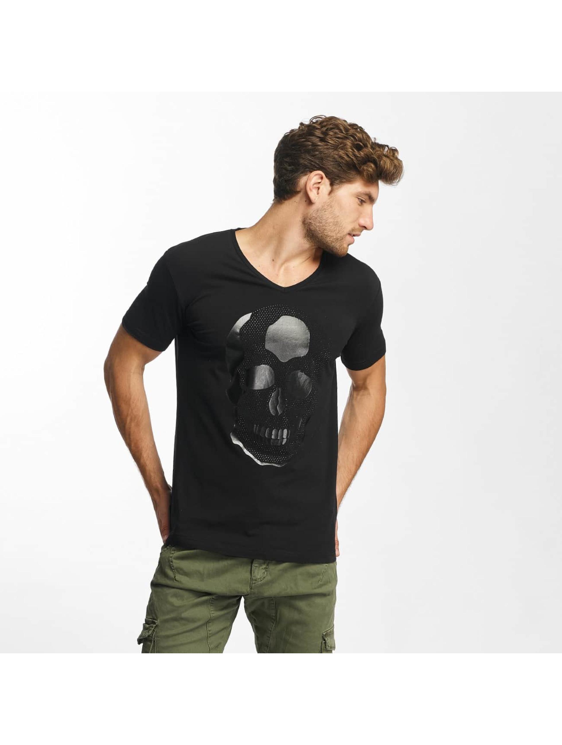 Red Bridge T-shirt Rhinestone Skull nero
