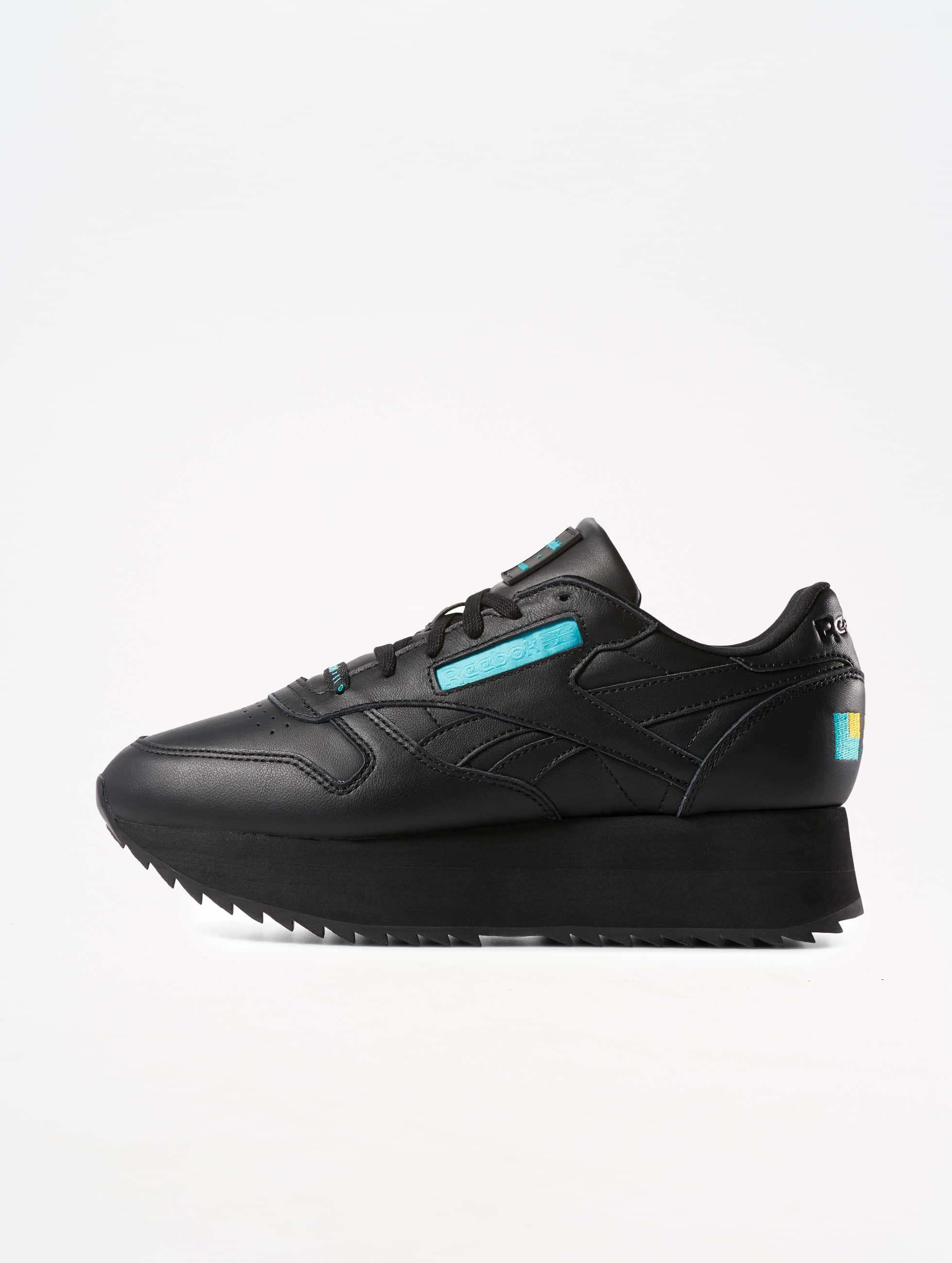 6813ed9cc7ca Reebok | Classic Leather Double noir Femme Baskets 576236
