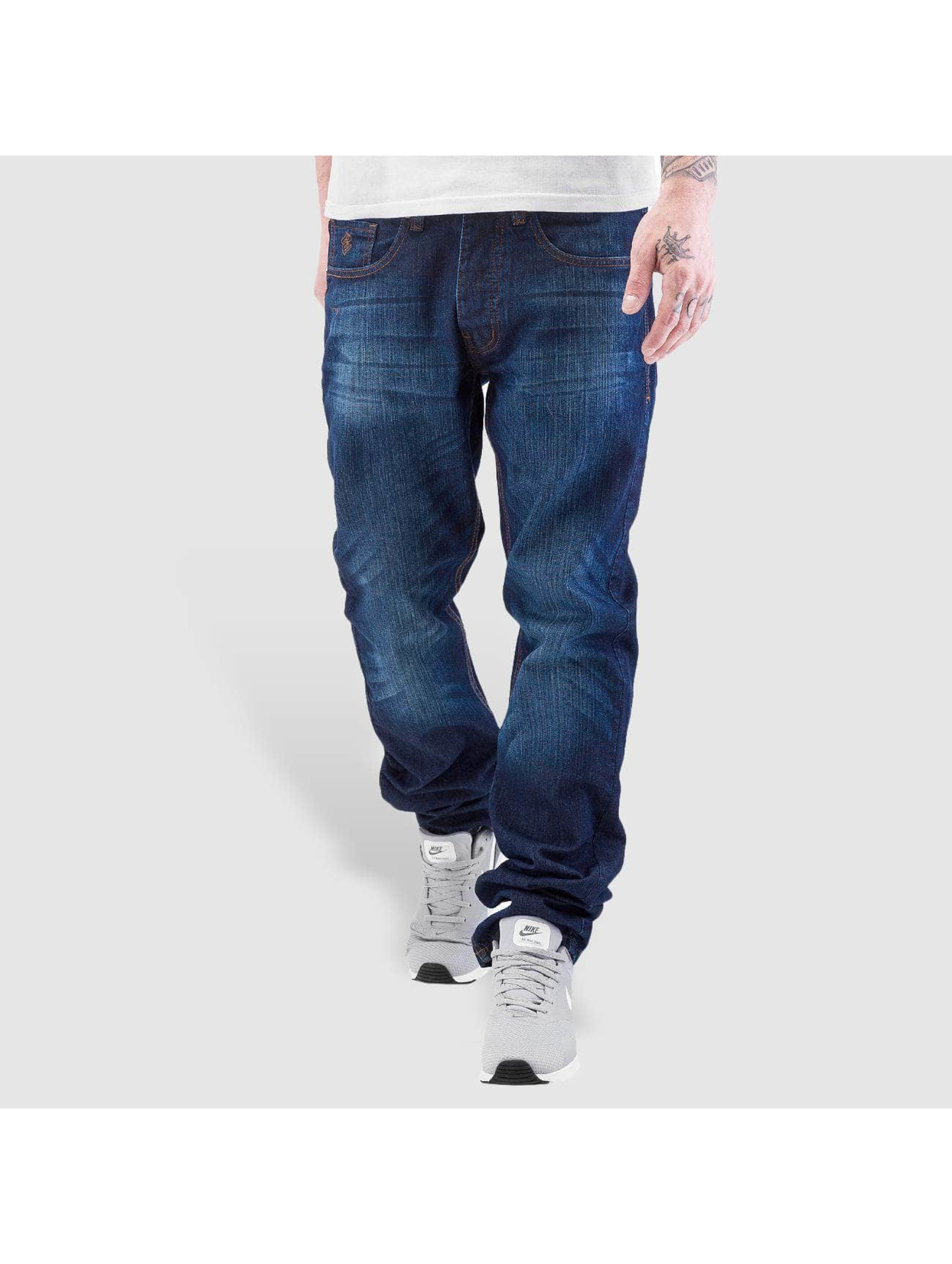 Rocawear Джинсы прямого покроя Leather Patch Relaxed синий