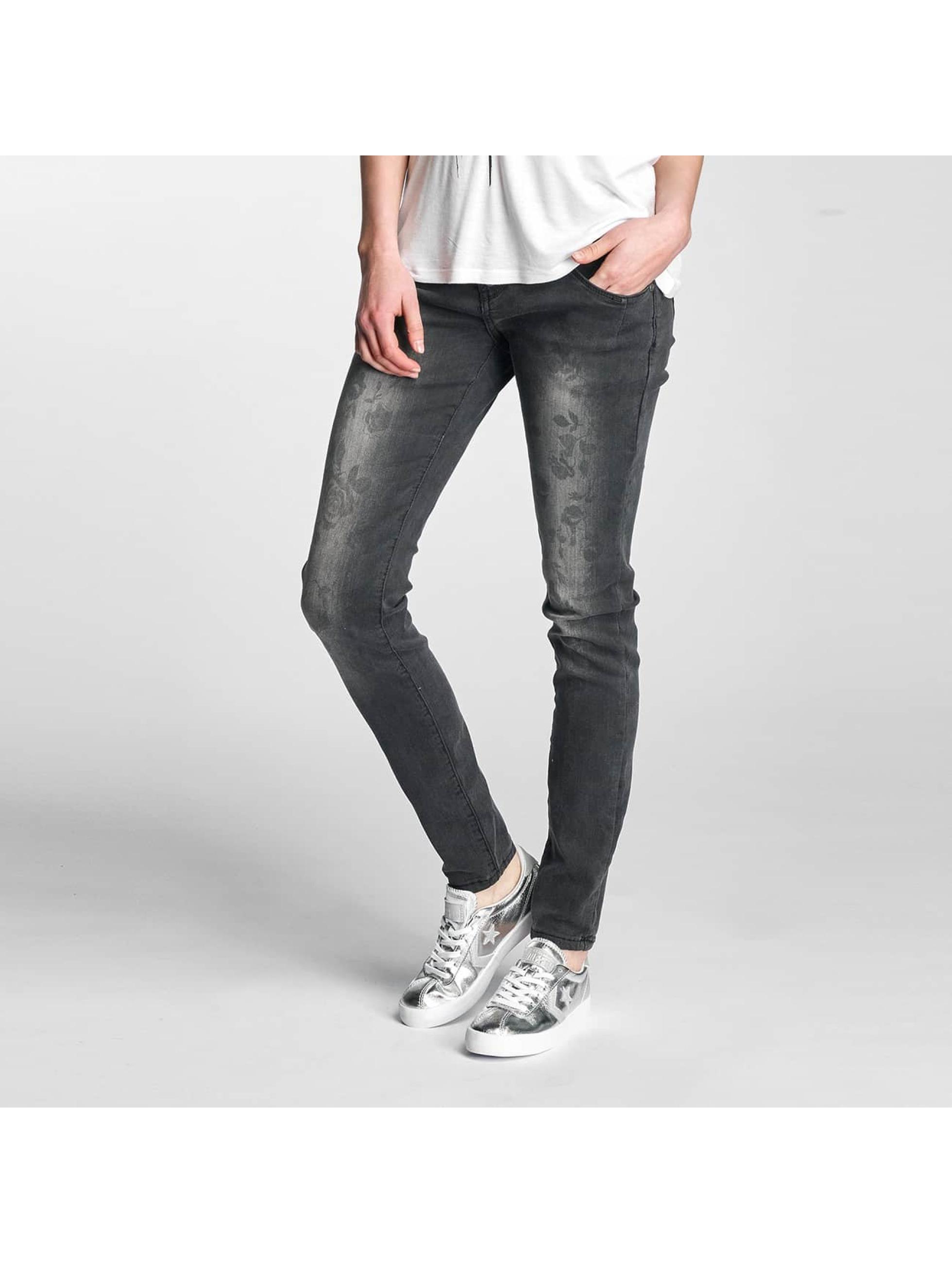 Rock Angel Skinny Jeans Brook Flowers schwarz