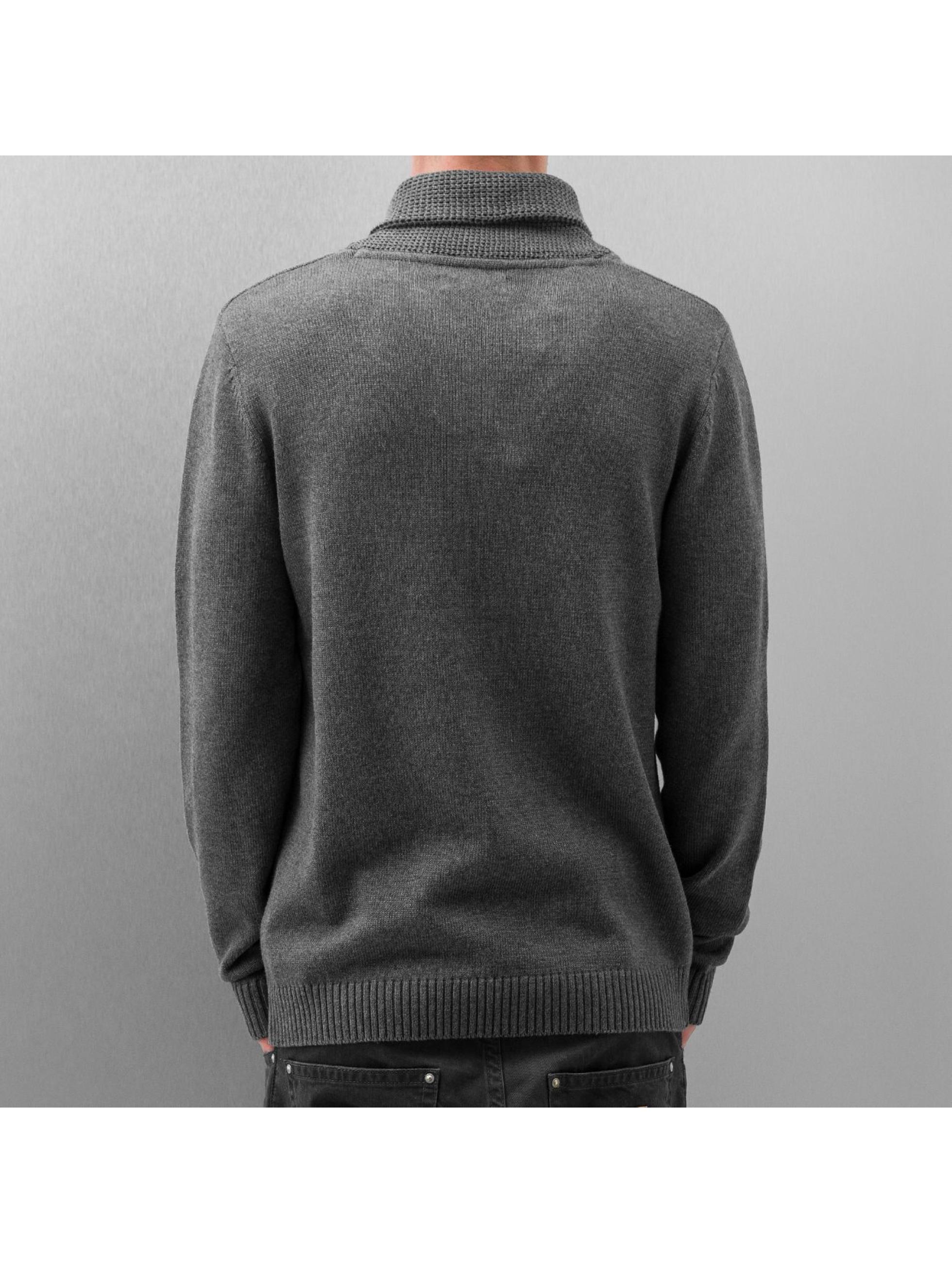 Selected Пуловер Chip Shawl серый