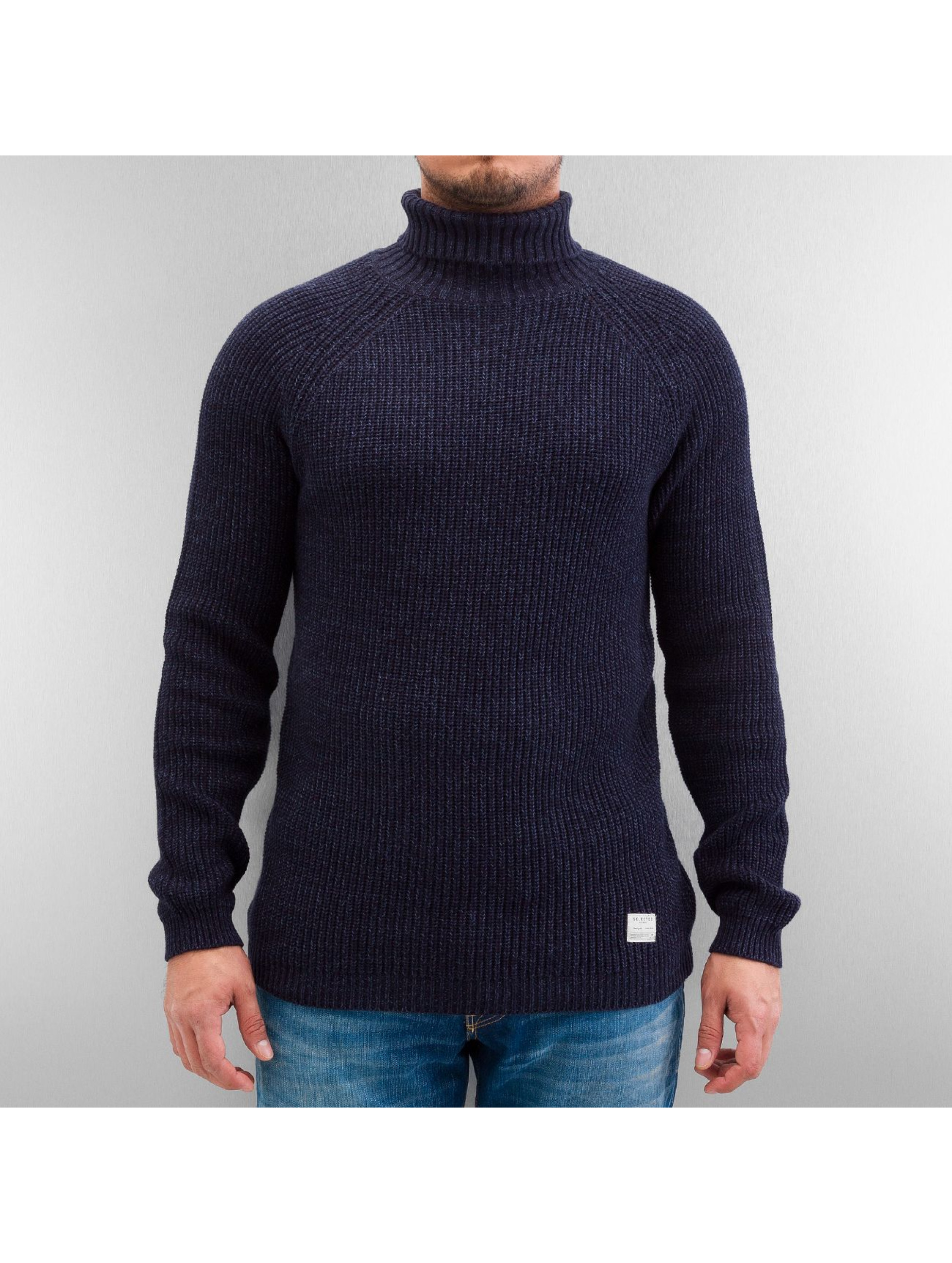 Selected Pullover Brick Turtle Knit blau