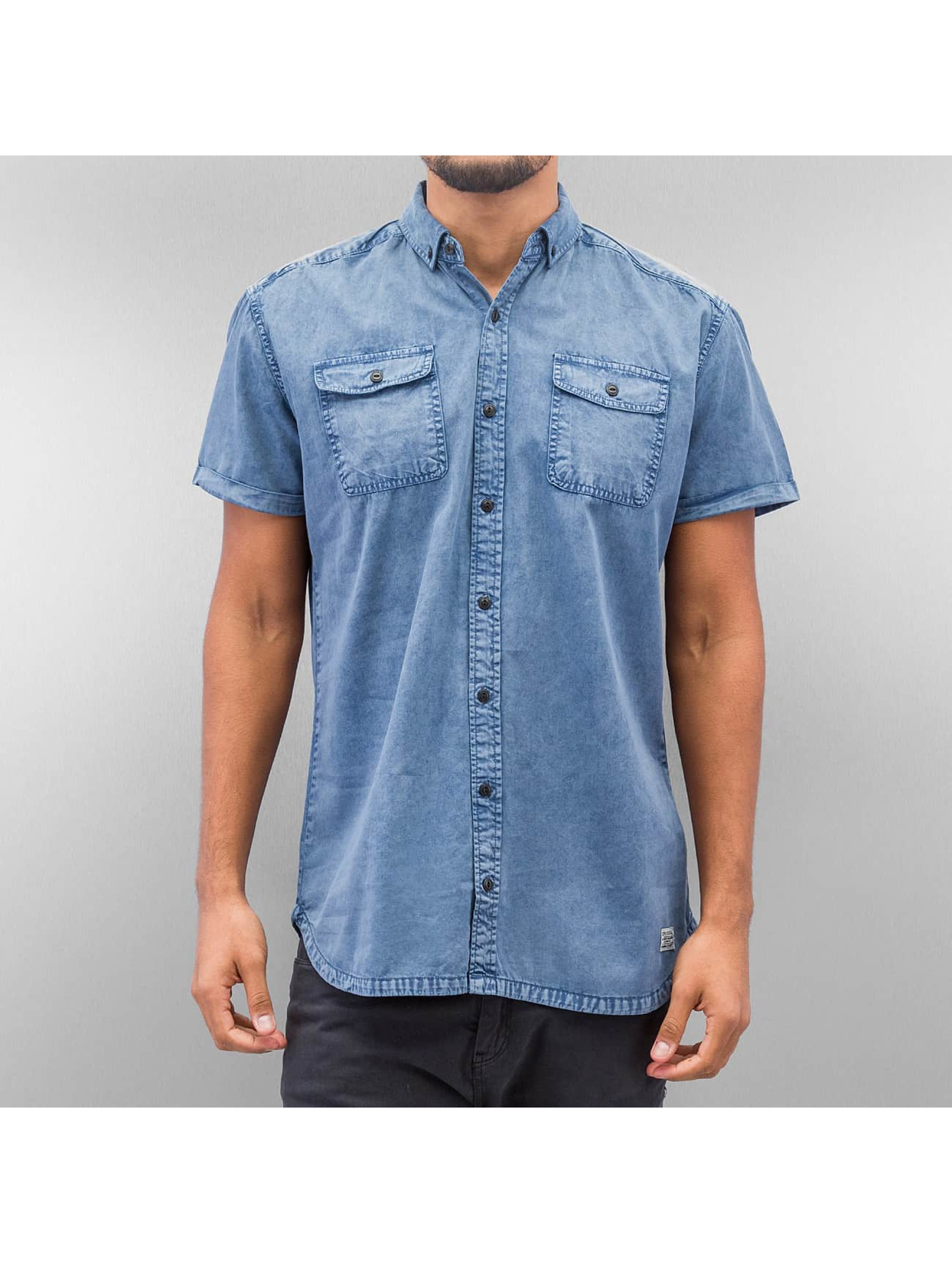 SHINE Original Hemd Washed And Worn Out blau