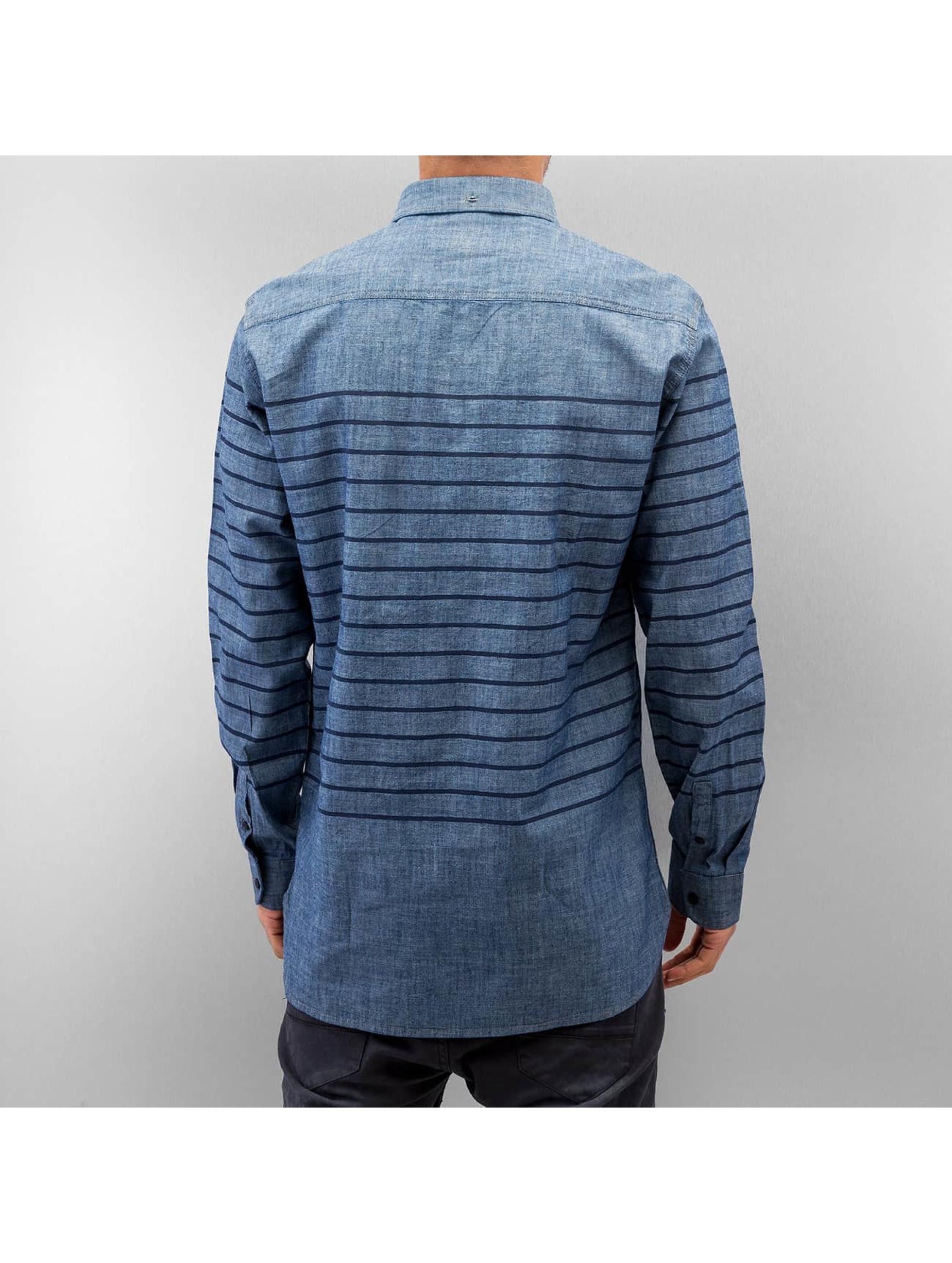 SHINE Original overhemd Striped Chambray blauw