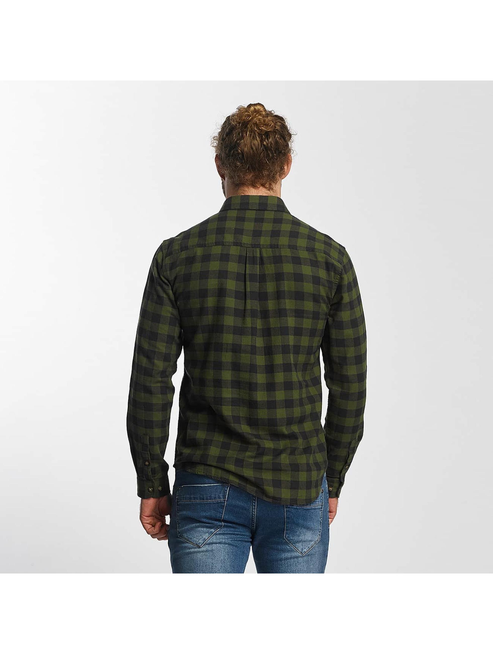 SHINE Original overhemd Checked Twill olijfgroen