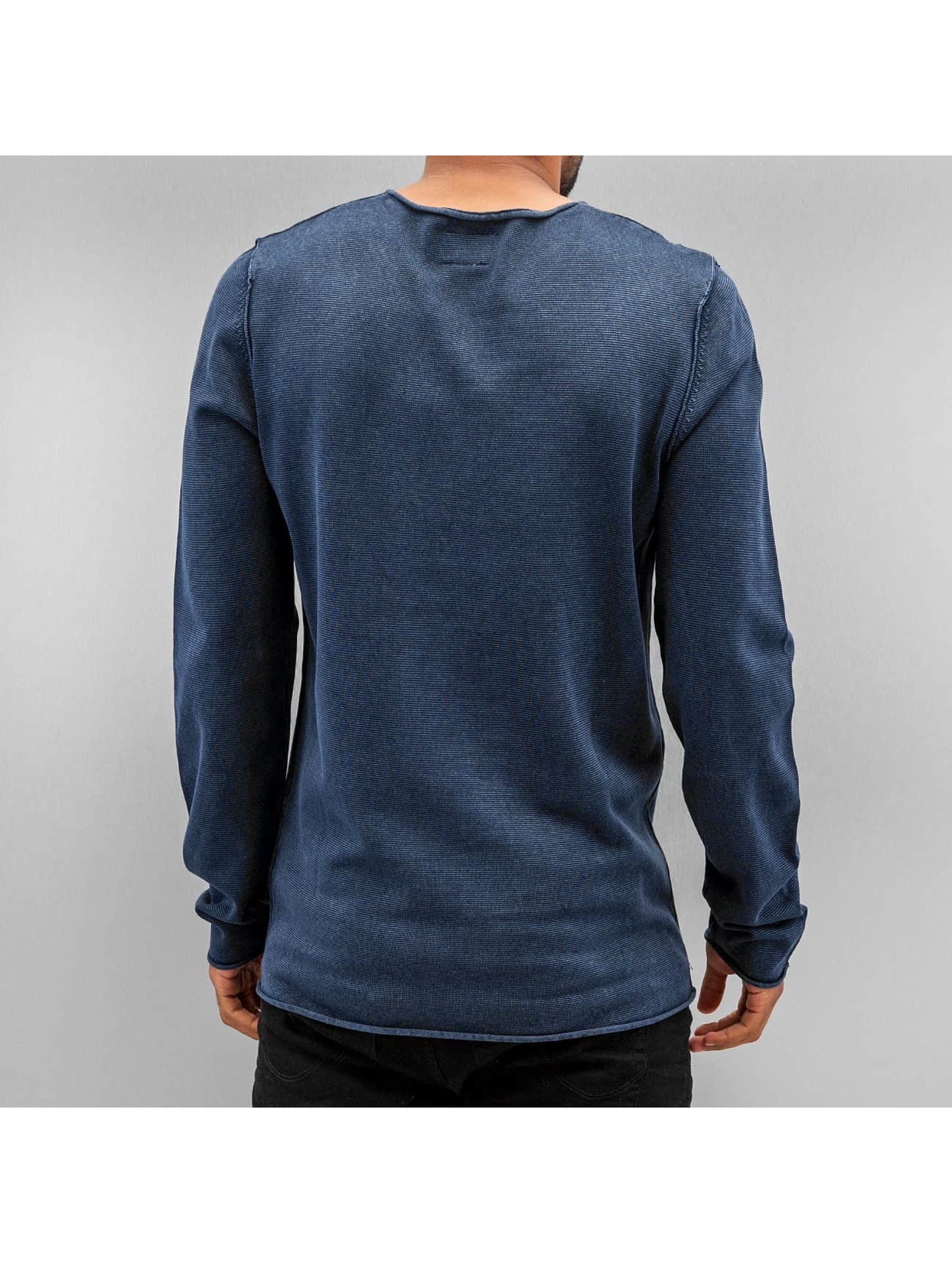SHINE Original Pullover Acid Wash Roll Edge blau
