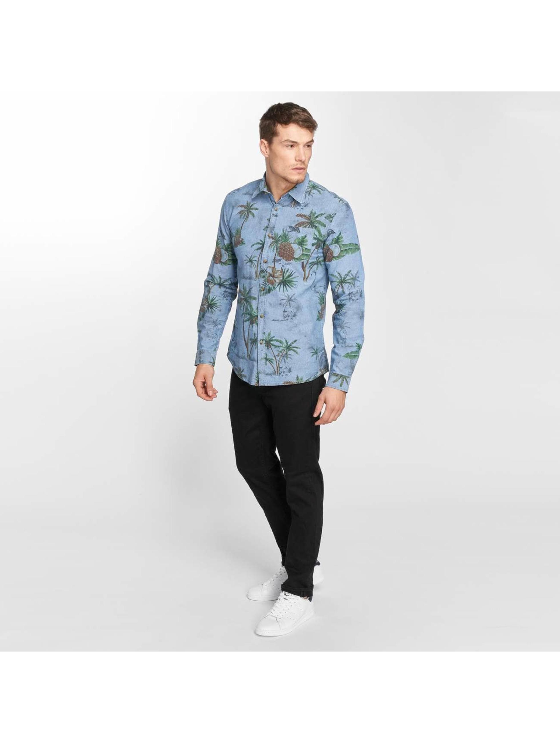 SHINE Original Skjorte Riley AOP blå