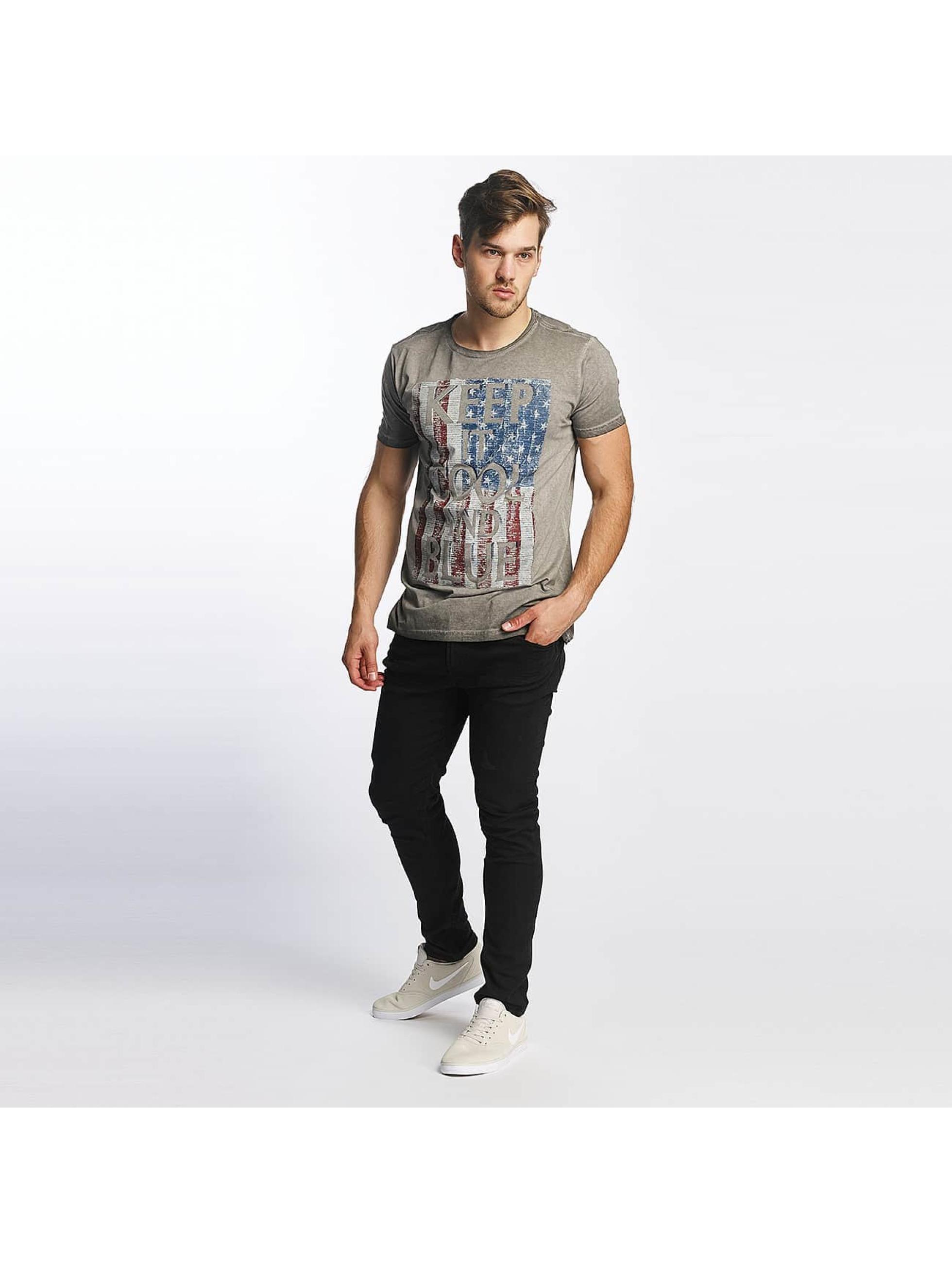 SHINE Original T-skjorter Oil Washed Printed grå