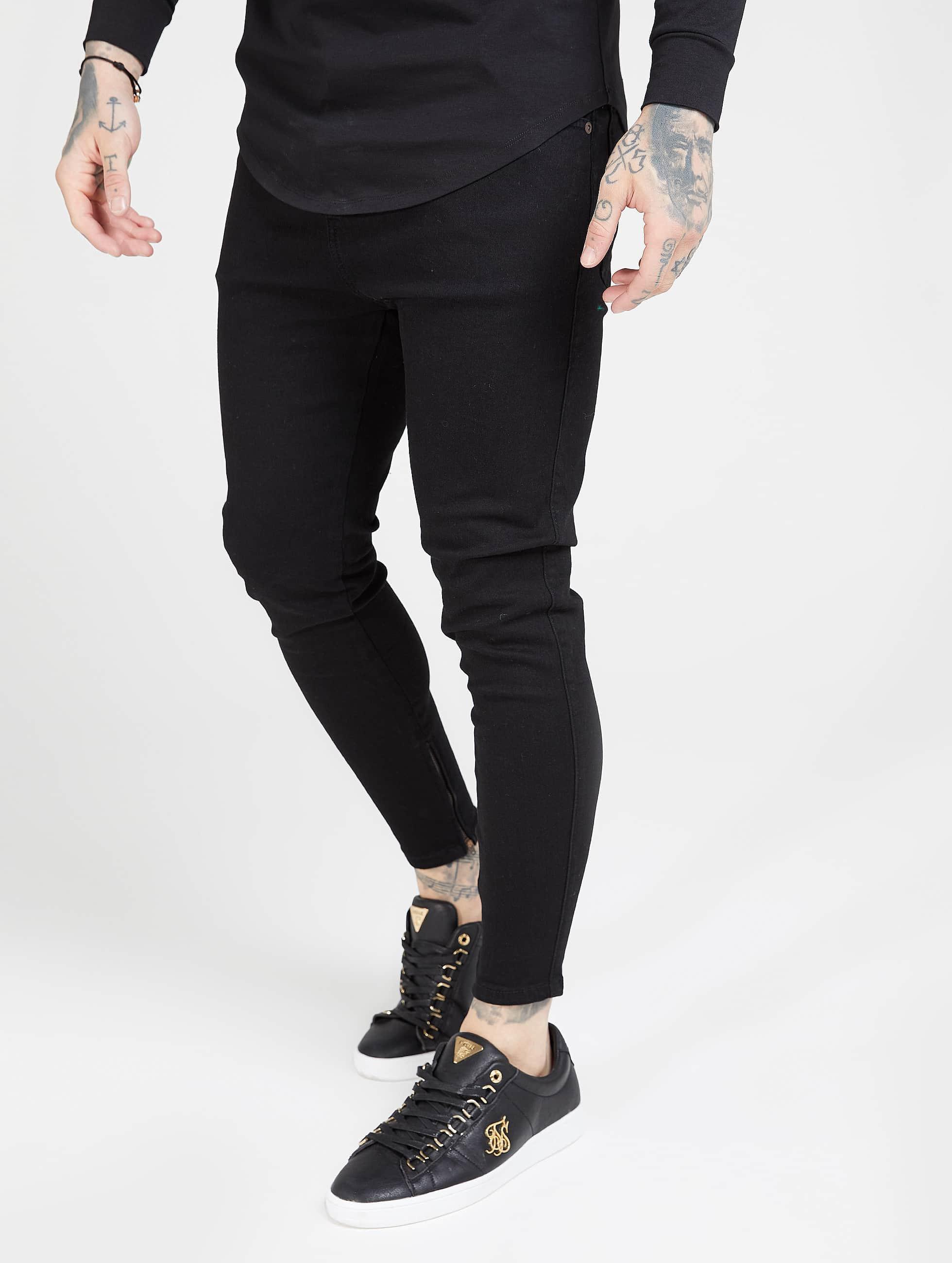 Sik Silk Drop Crotch Slim Fit Jeans Black
