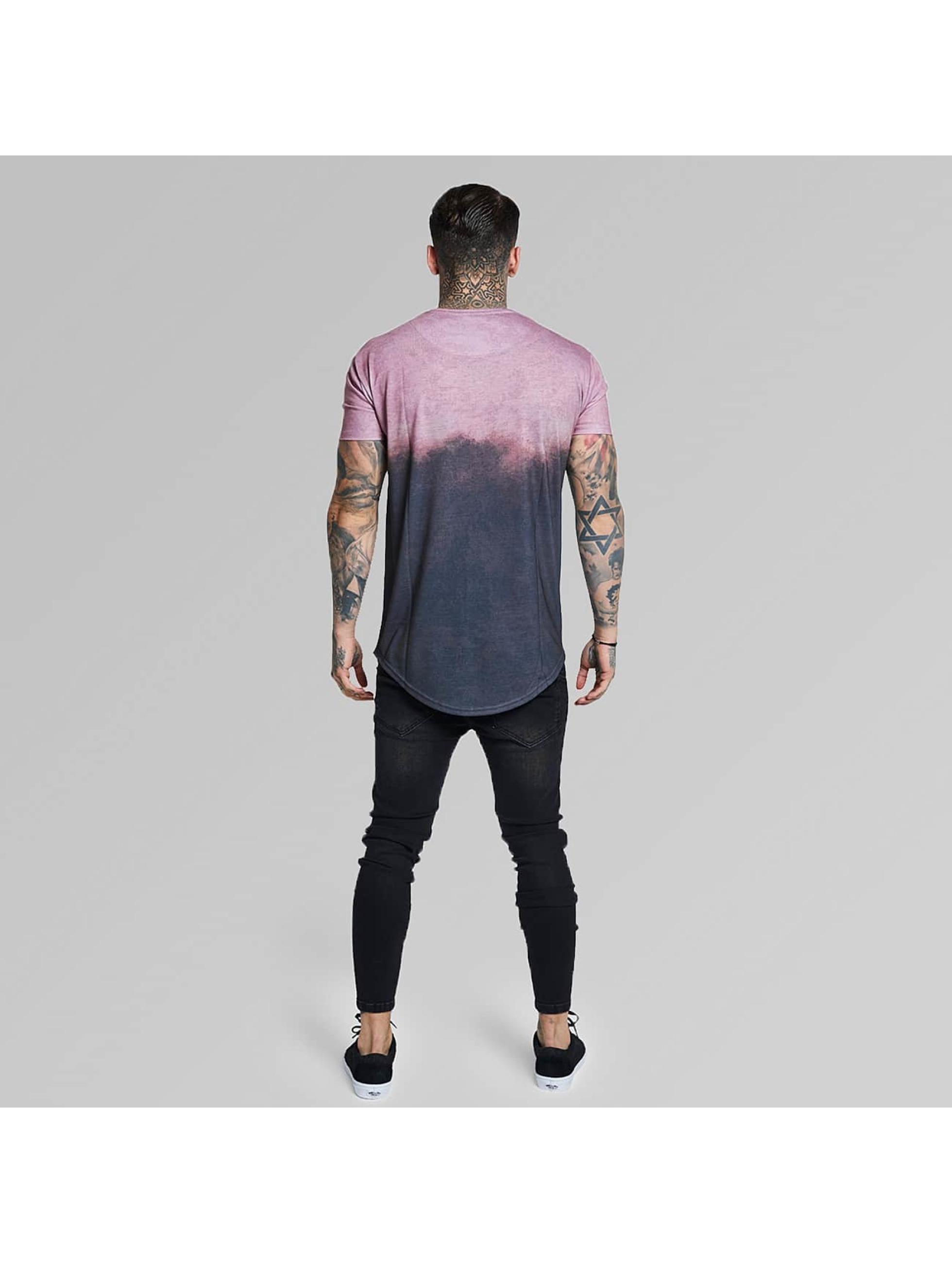 Sik Silk T-paidat Curved Hem Faded harmaa